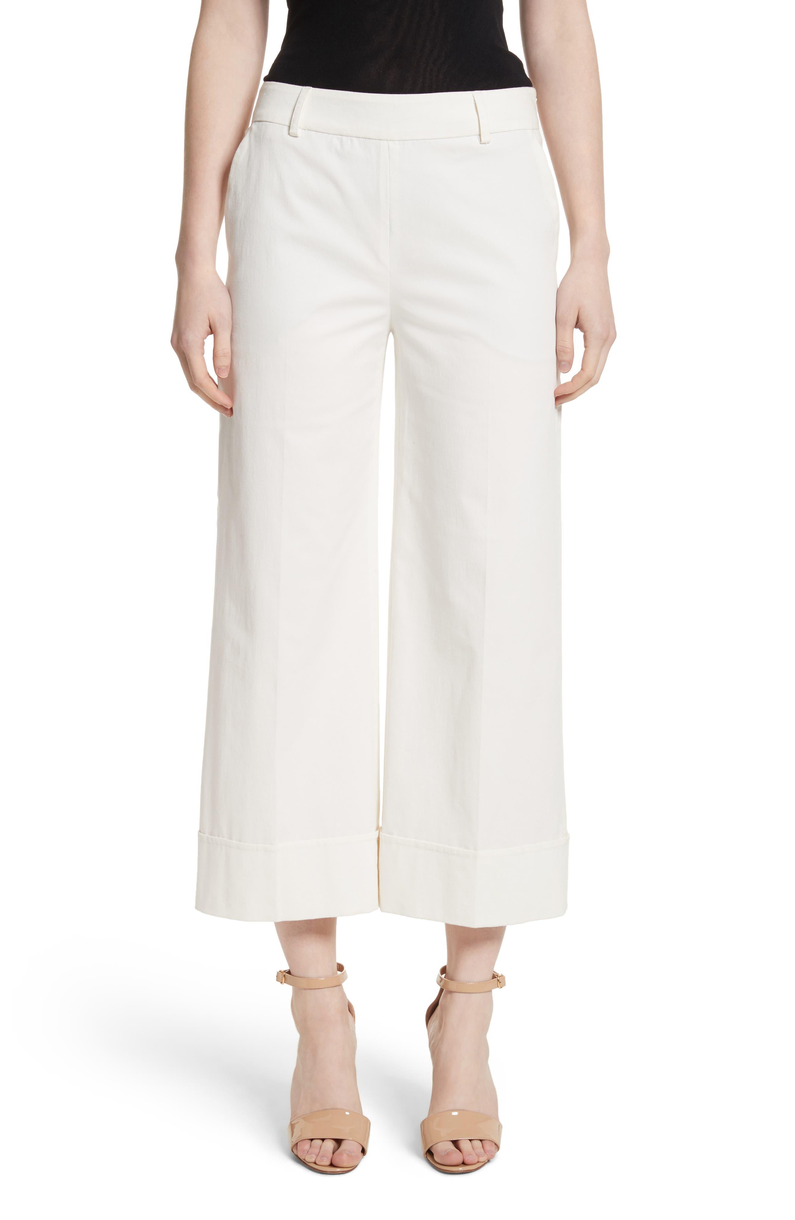Stretch Cotton Gabardine Crop Wide Leg Pants,                         Main,                         color,
