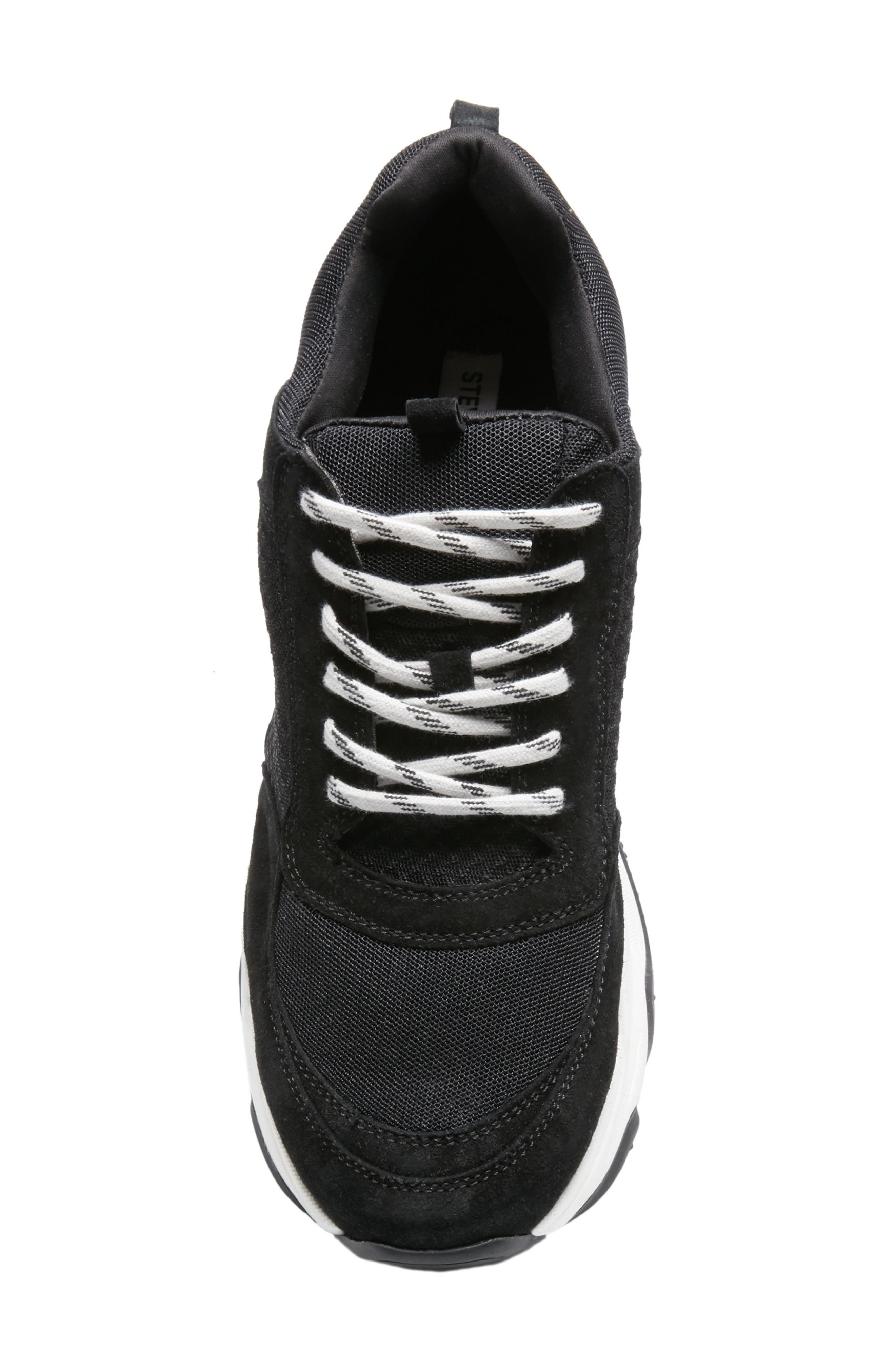 Russell Platform Sneaker,                             Alternate thumbnail 4, color,                             BLACK LEATHER