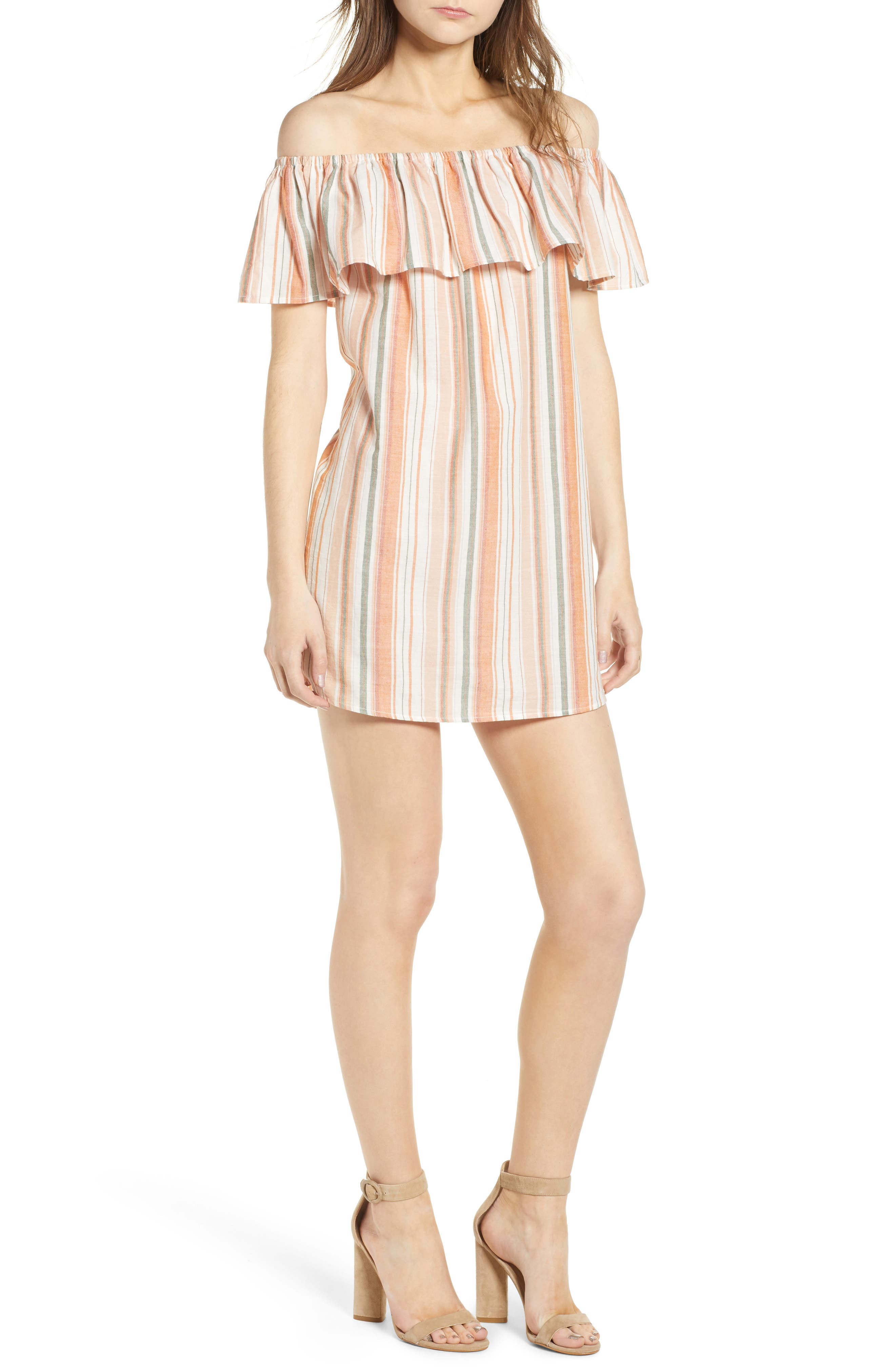 Bishop + Young Sunset Stripe Off the Shoulder Dress,                             Main thumbnail 1, color,                             844