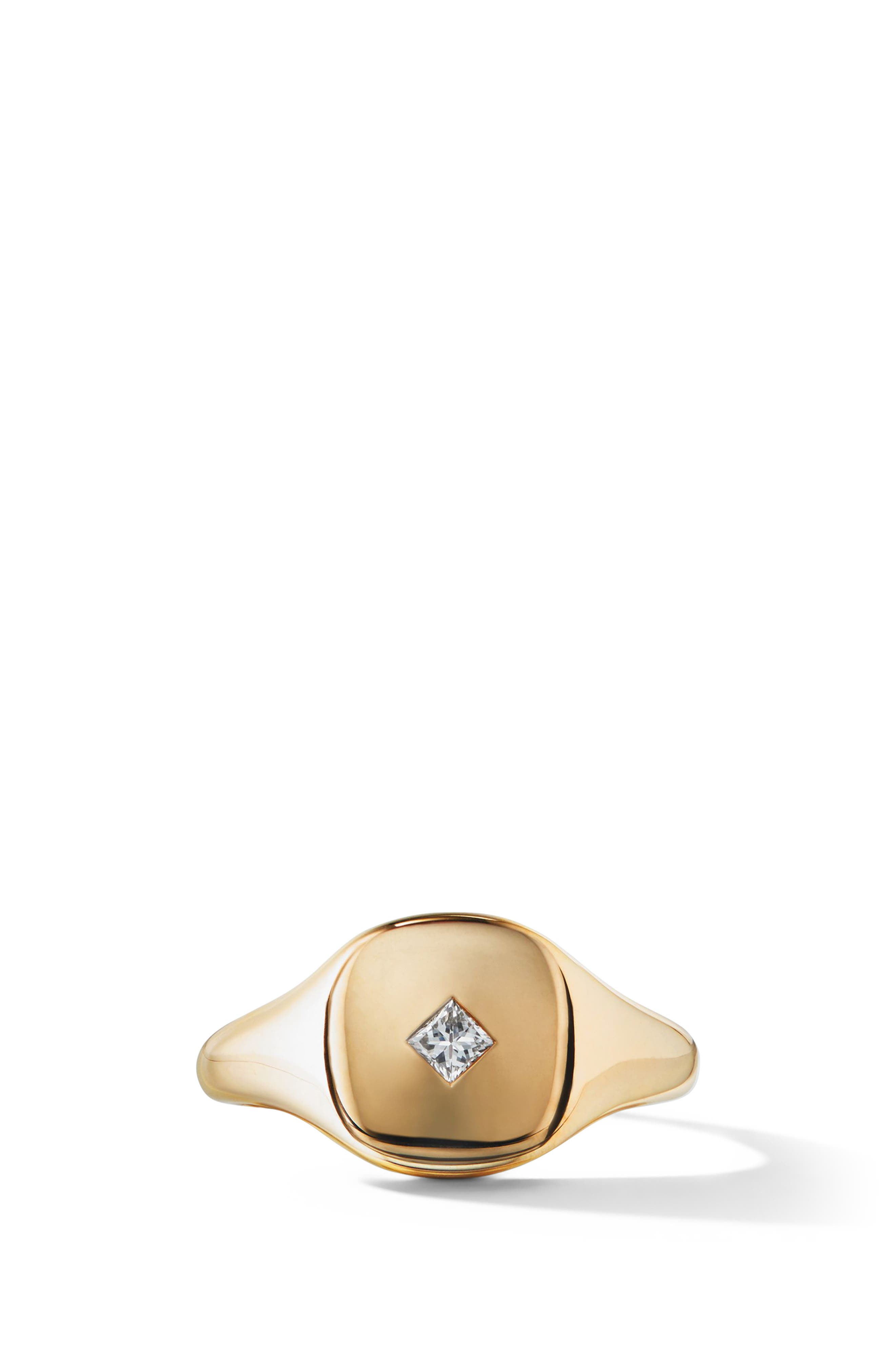 Cable Collectibles Mini Pinky Ring in 18K Gold with Princess Cut Diamond,                             Main thumbnail 1, color,                             GOLD/ DIAMOND