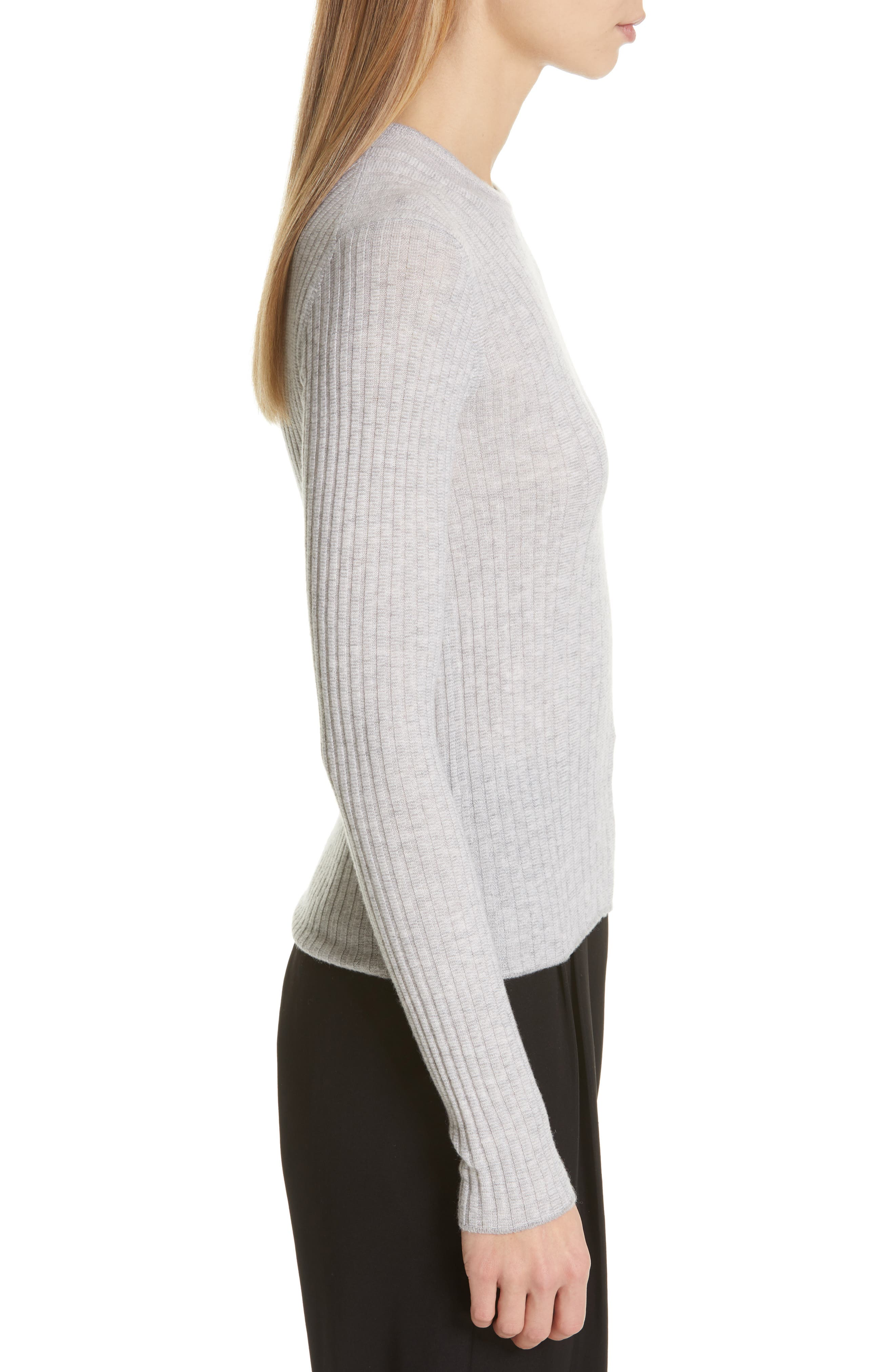 Mixed Rib Stitch Sweater,                             Alternate thumbnail 3, color,                             H STEEL/ OFF WHITE