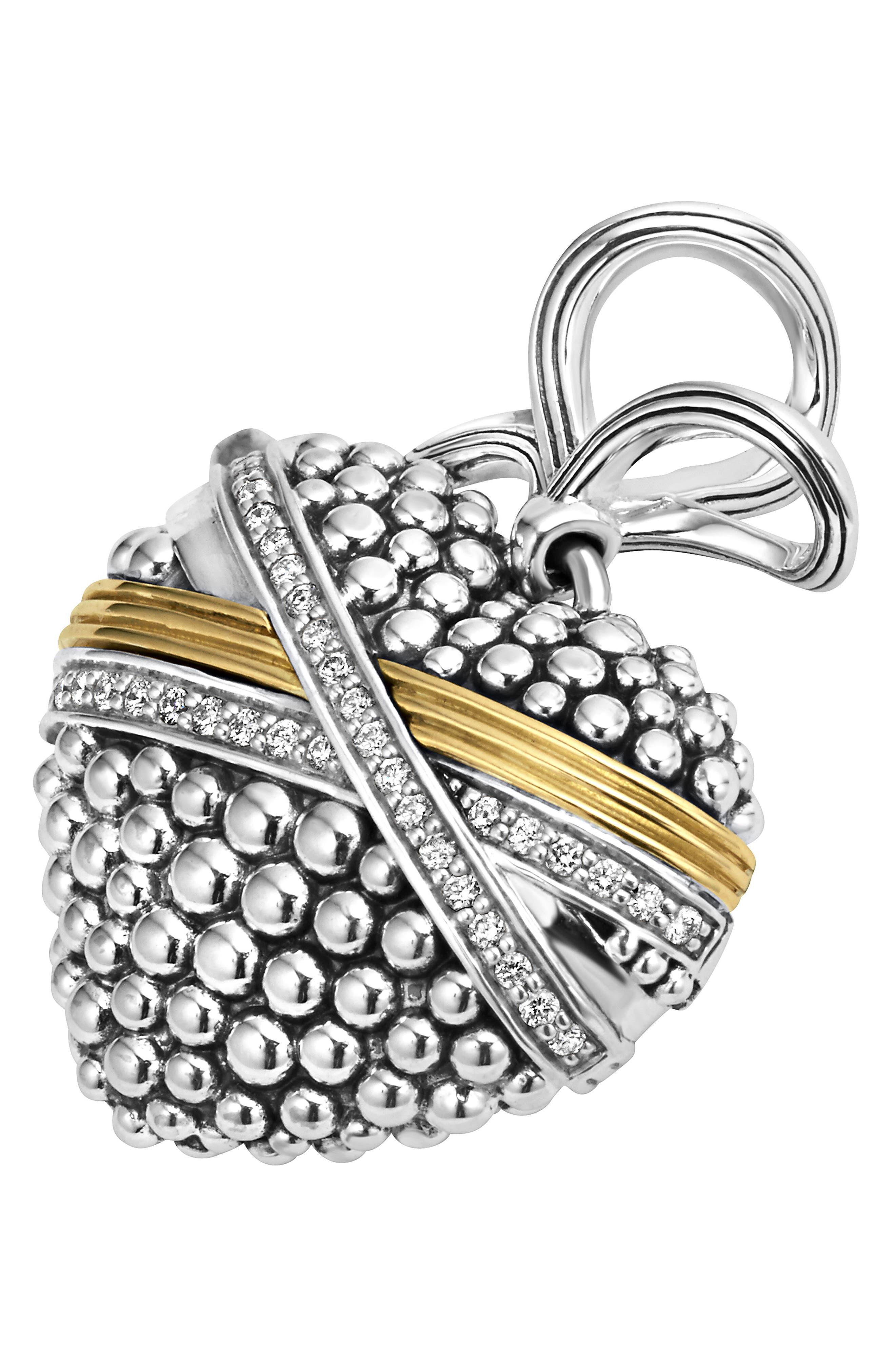 'Diamond Caviar' Diamond Heart Pendant,                             Alternate thumbnail 3, color,                             040