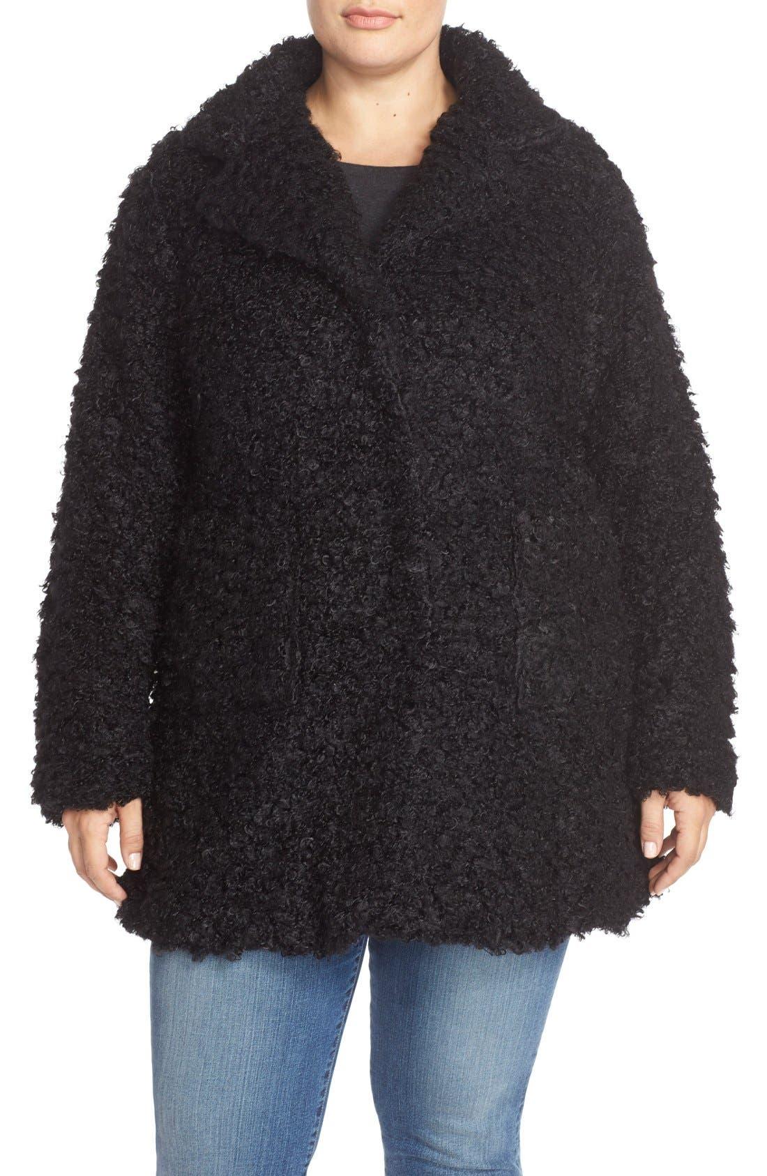Faux Fur Coat,                             Main thumbnail 1, color,                             001