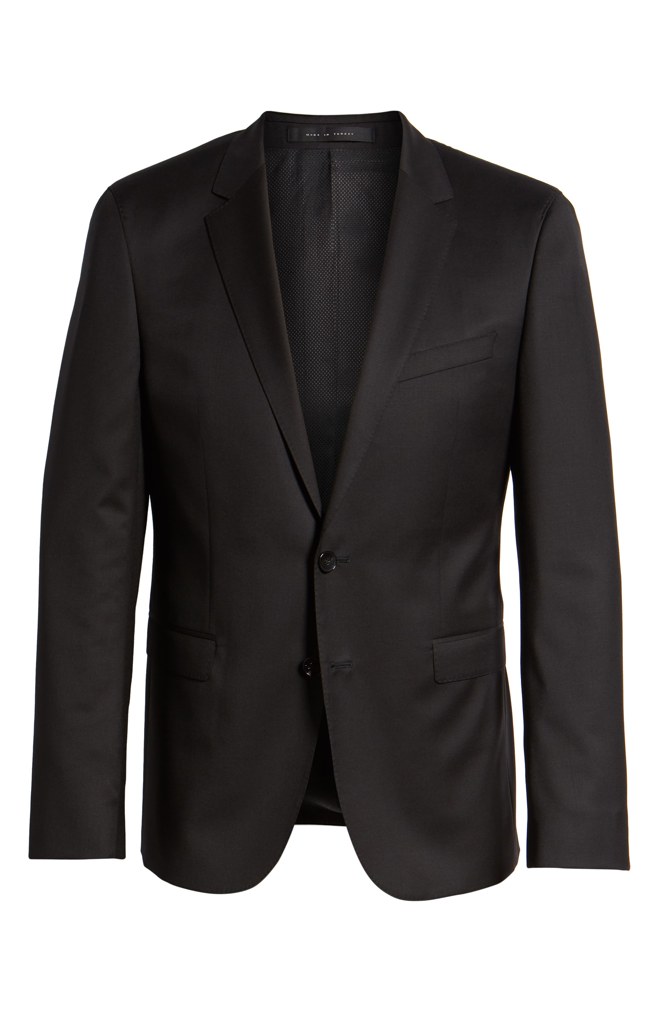 Ryan CYL Extra Trim Fit Solid Wool Blazer,                             Alternate thumbnail 5, color,                             BLACK