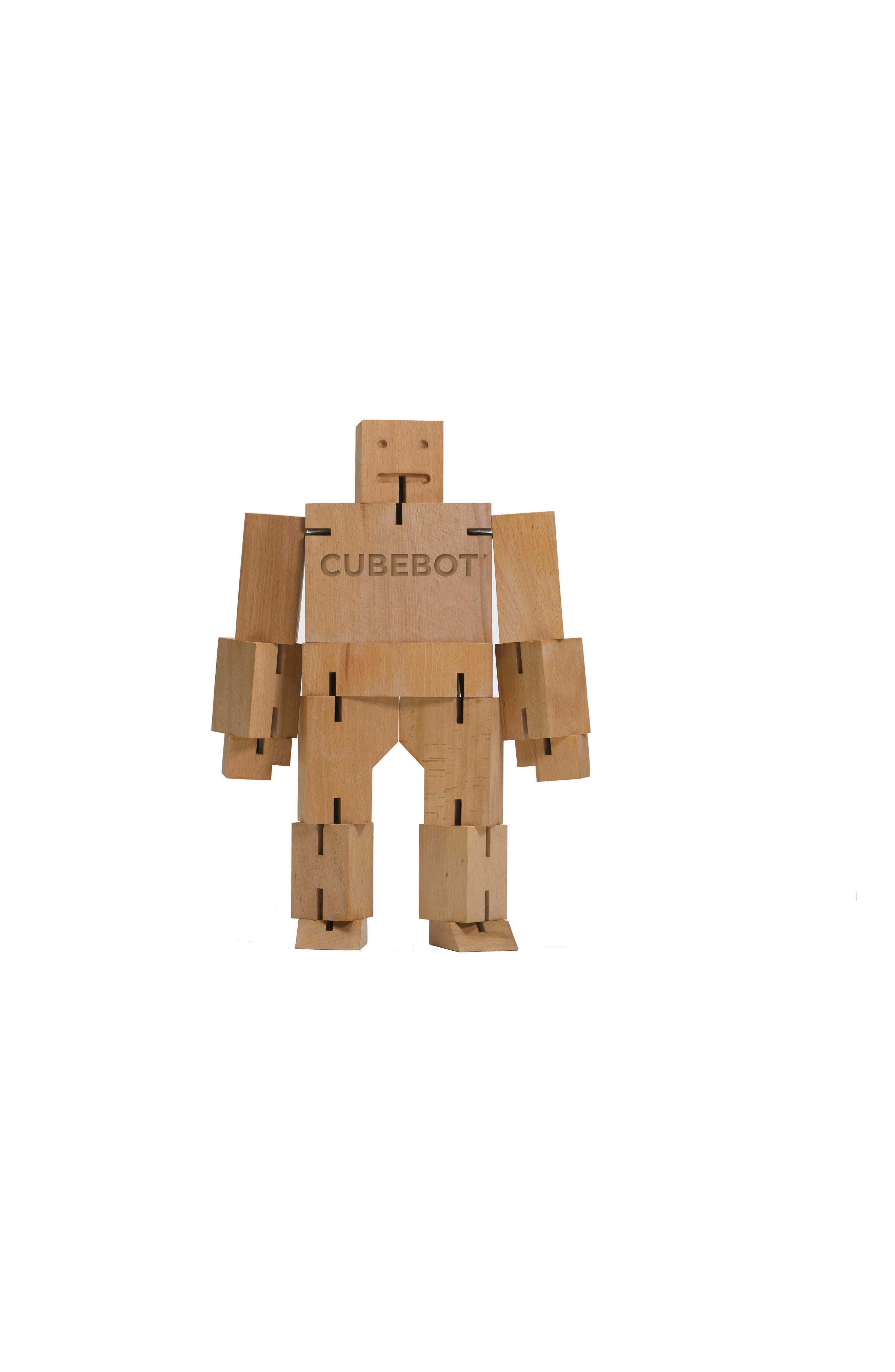 Cubebot Small Wooden Robot Toy,                             Main thumbnail 1, color,                             200