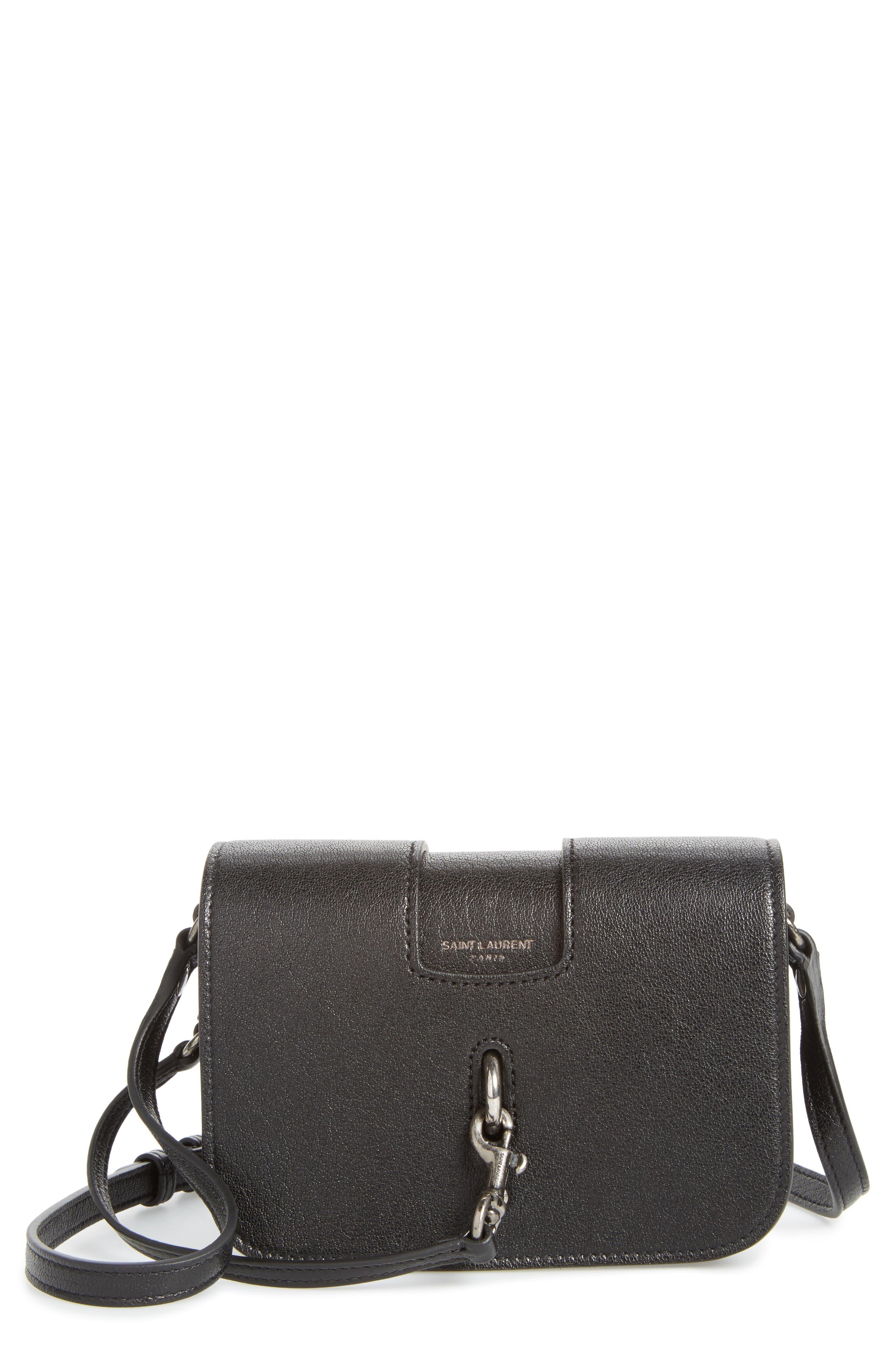 Calfskin Leather Crossbody Bag,                             Main thumbnail 1, color,                             001