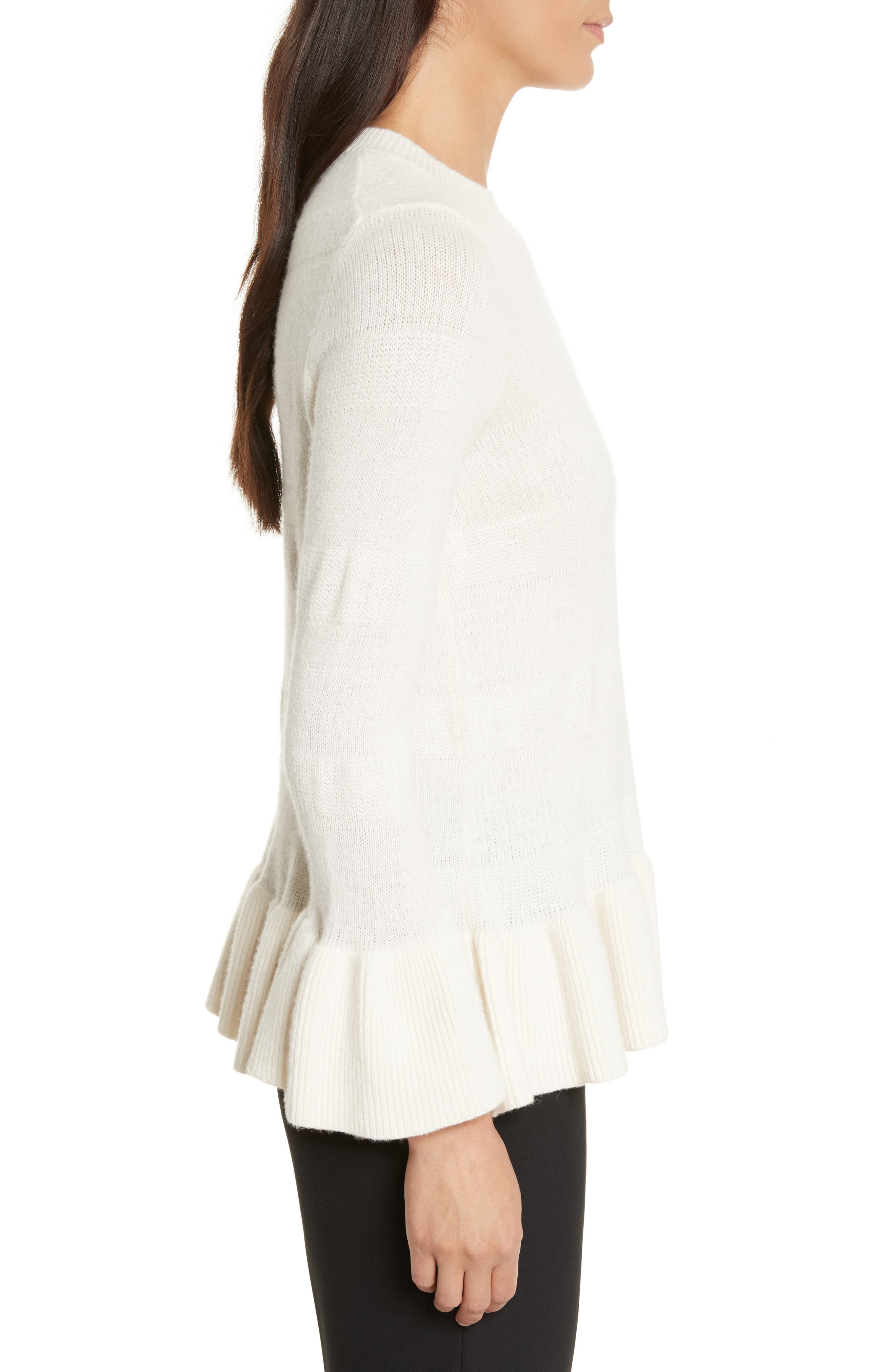 bell cuff textured sweater,                             Alternate thumbnail 3, color,                             902