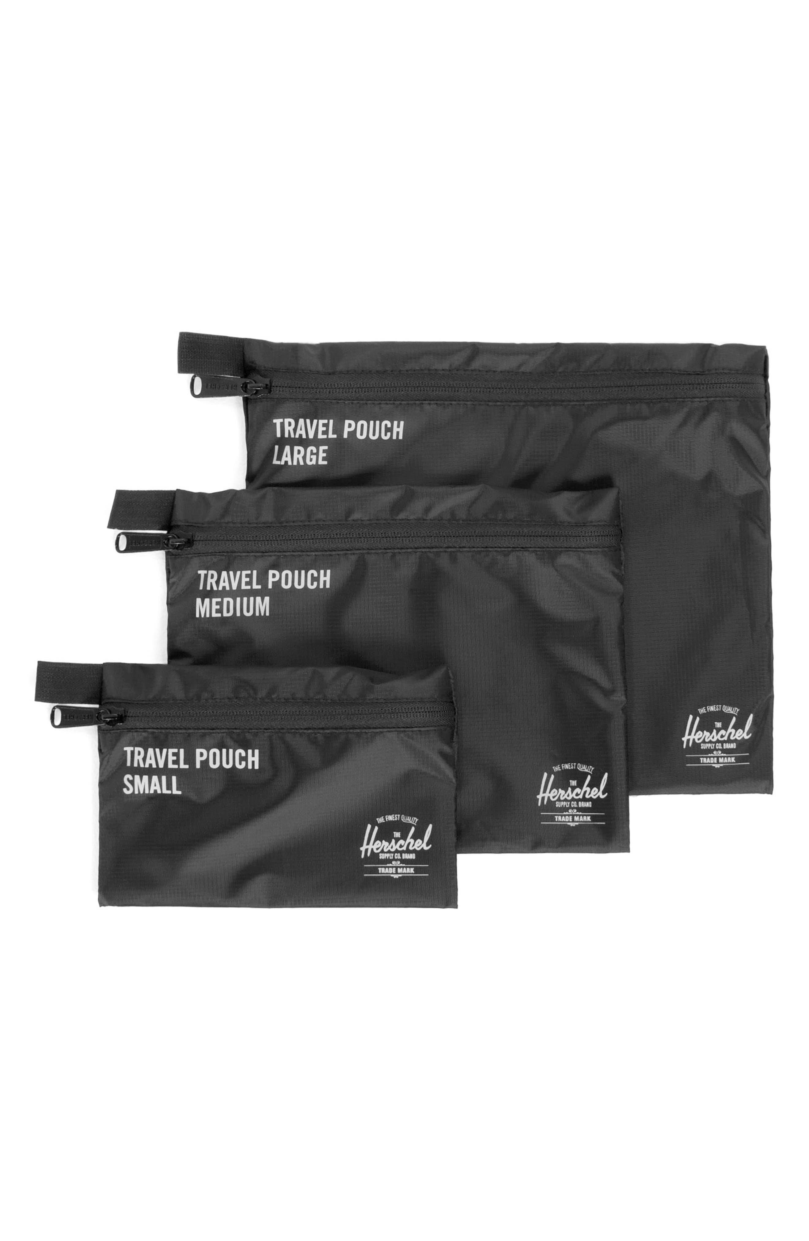 Travel Pouch Set,                         Main,                         color, BLACK
