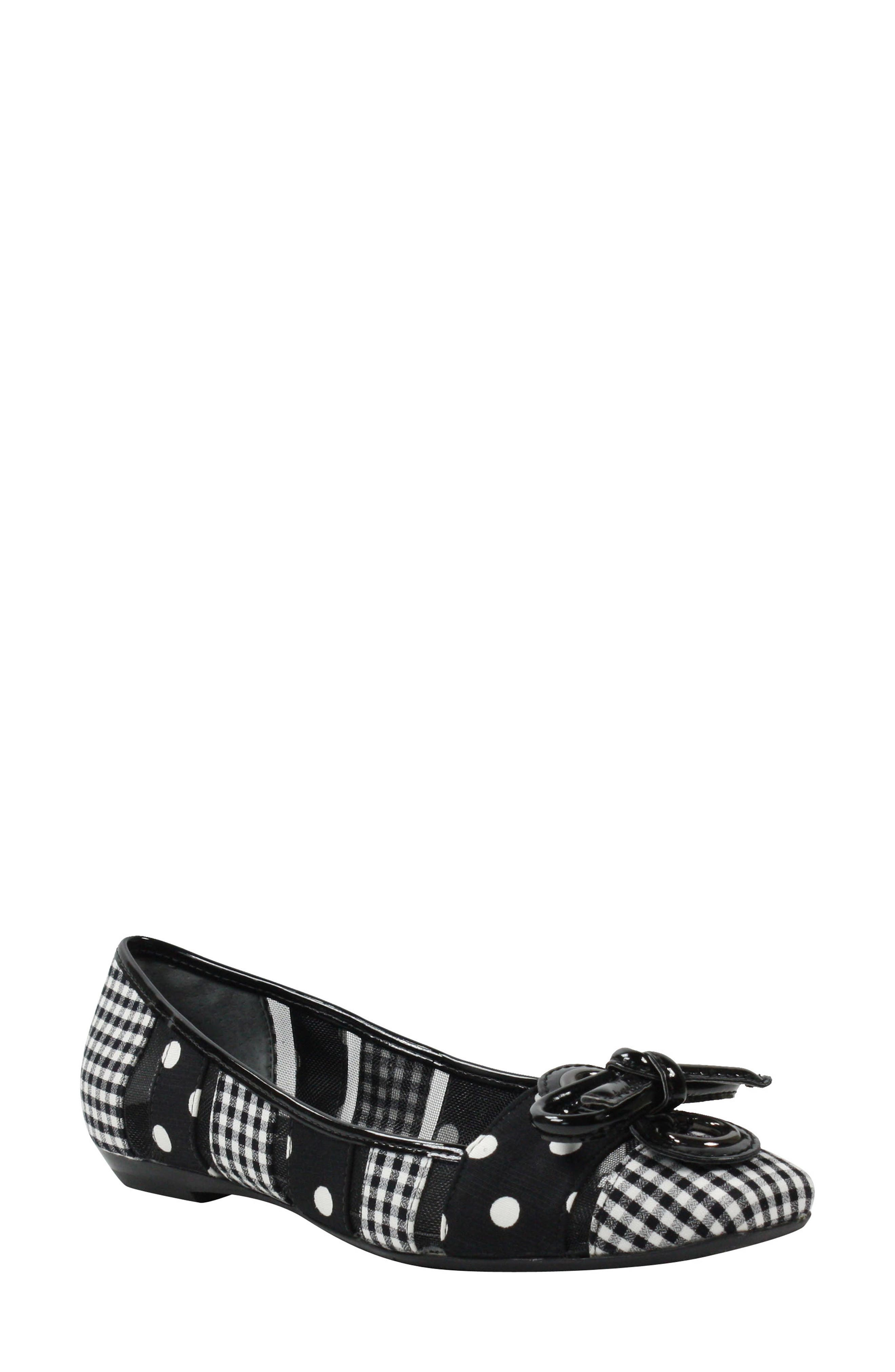 J. RENEÉ 'Edie' Skimmer Flat, Main, color, BLACK/ WHITE PRINT FABRIC