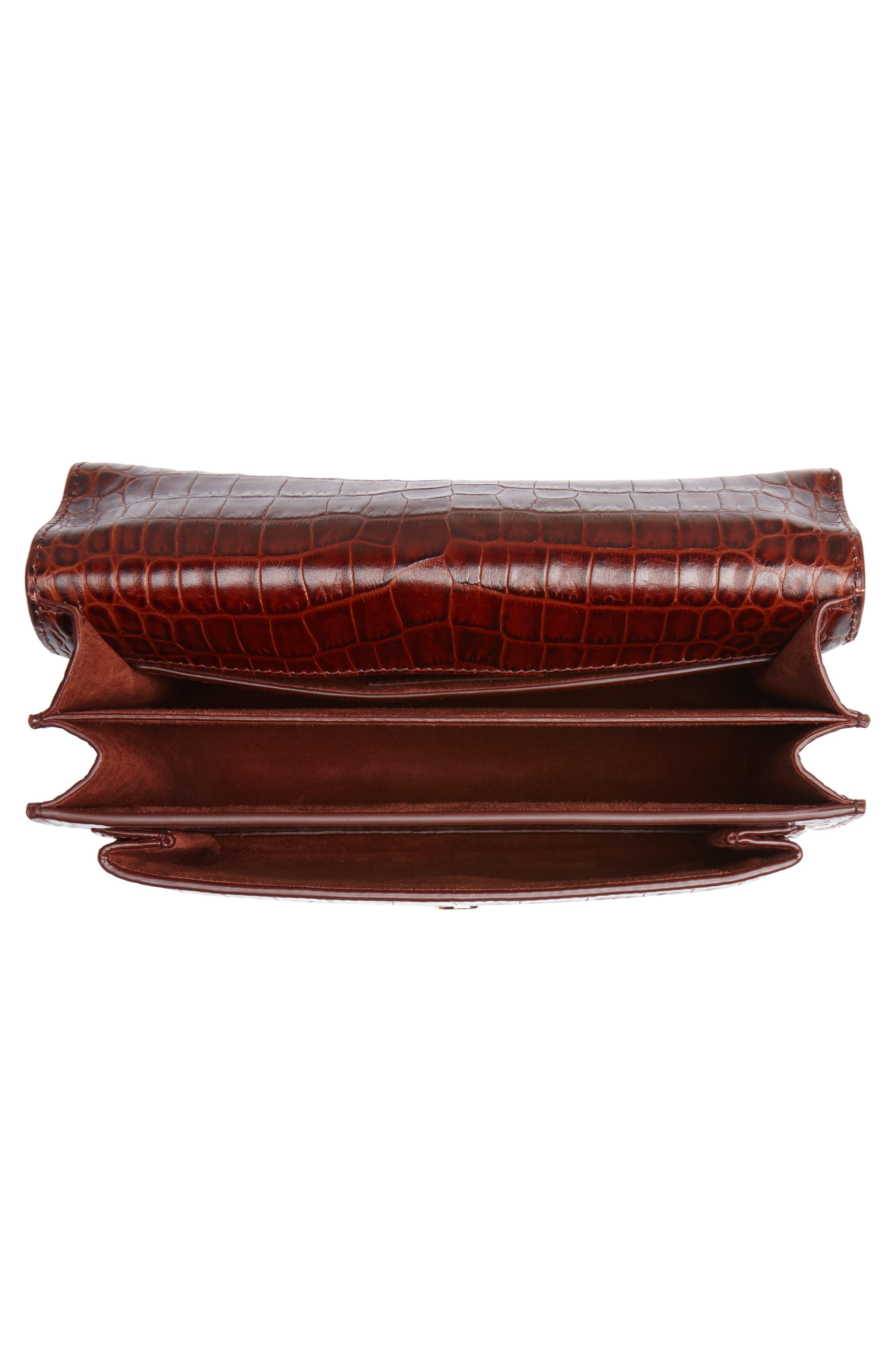 Medium Sunset Croc Embossed Leather Shoulder Bag,                             Alternate thumbnail 4, color,                             930