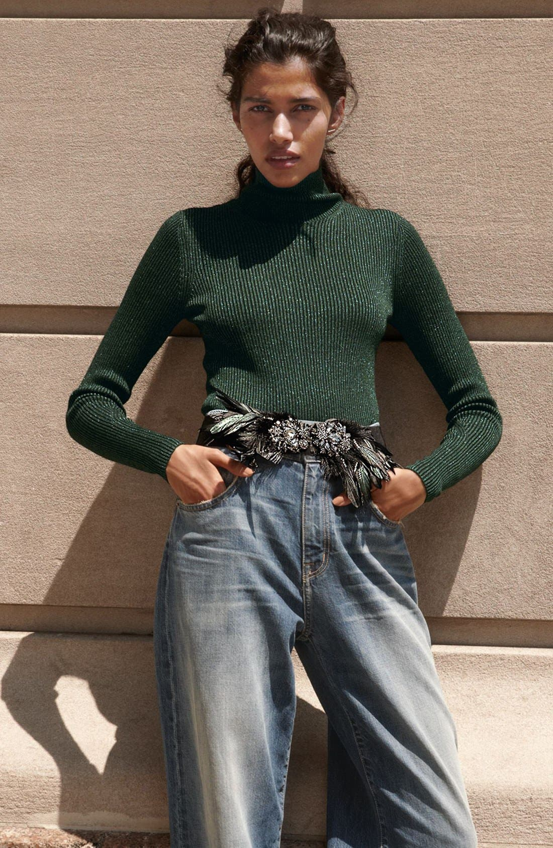 Crystal & Feather Stretch Belt,                             Alternate thumbnail 4, color,                             001