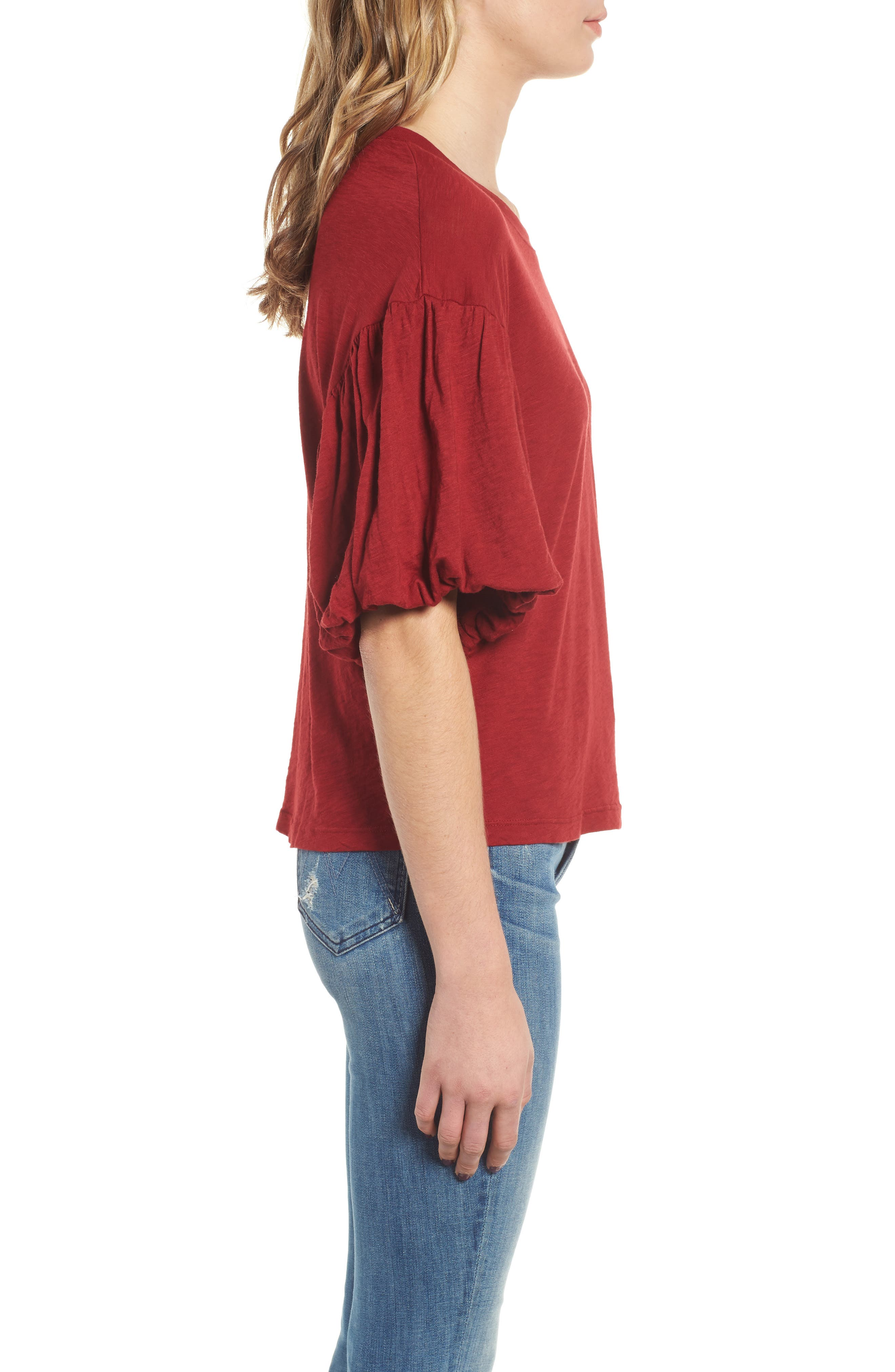 Ruffle Sleeve Slub Tee,                             Alternate thumbnail 3, color,                             DEEP RED