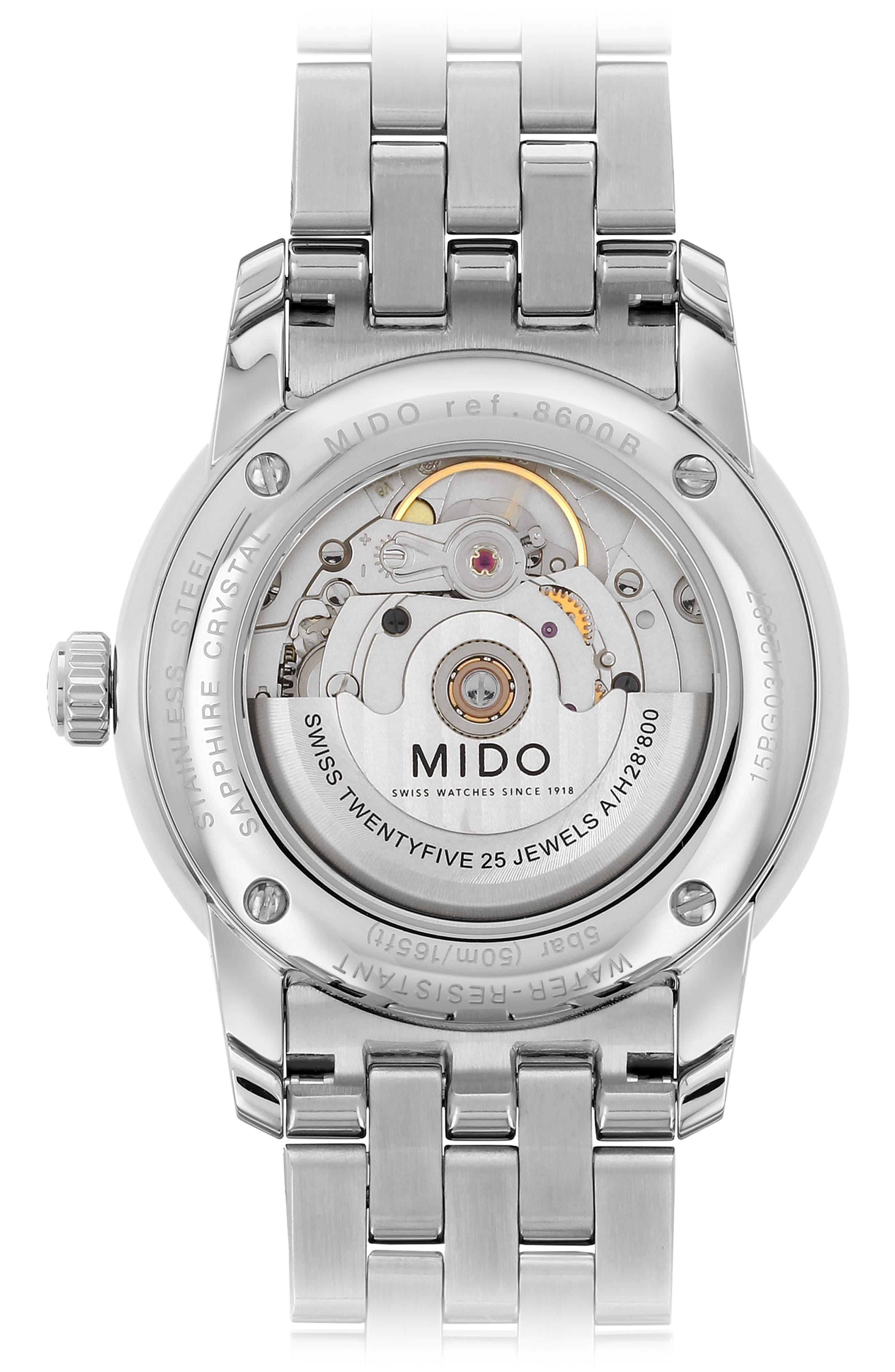 Baroncelli Bracelet Watch, 39mm,                             Alternate thumbnail 2, color,                             SILER/ WHITE GUILLOCHE/ SILVER