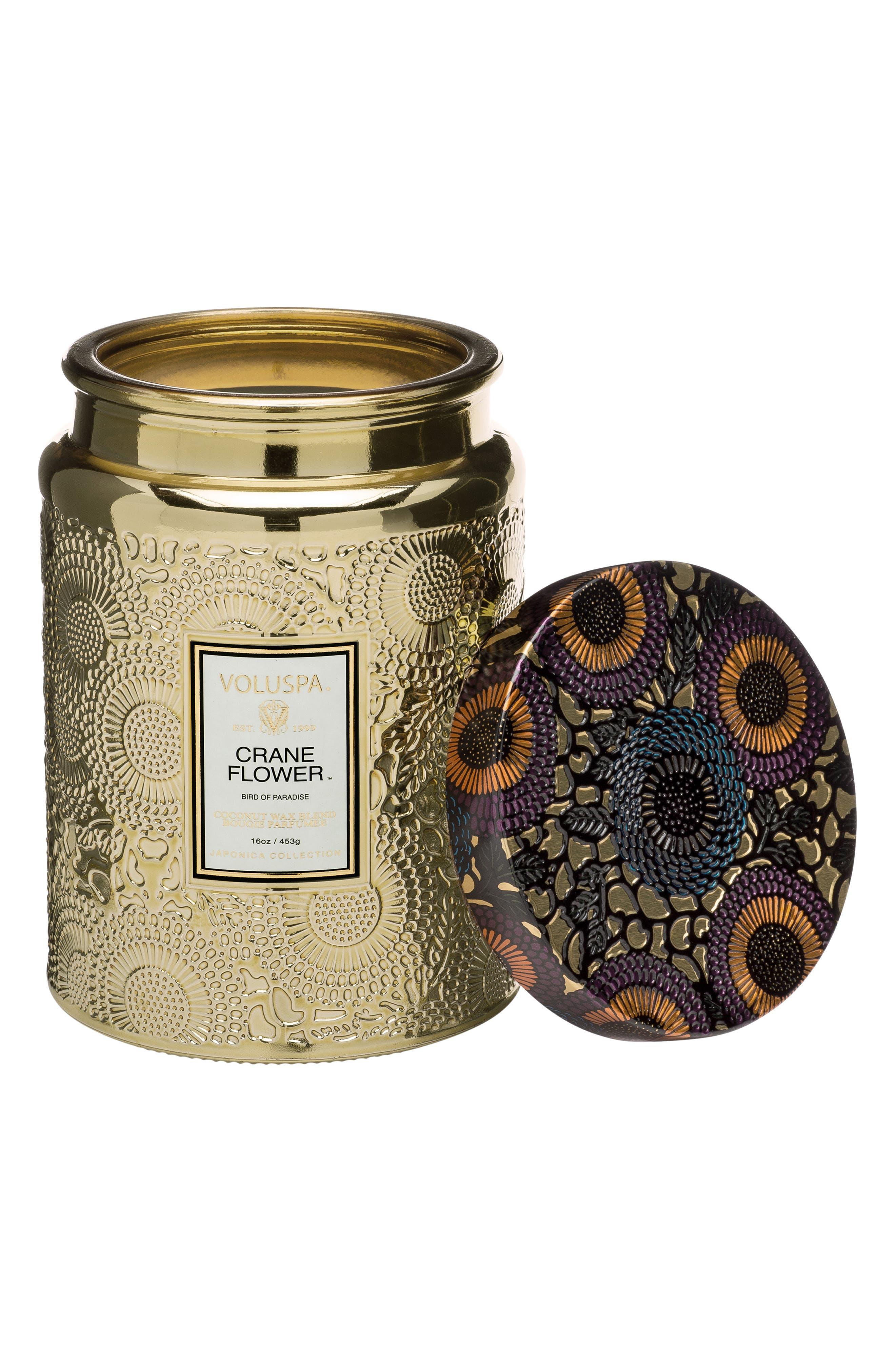 VOLUSPA,                             Japonica Crane Flower Large Embossed Glass Jar Candle,                             Alternate thumbnail 2, color,                             NO COLOR