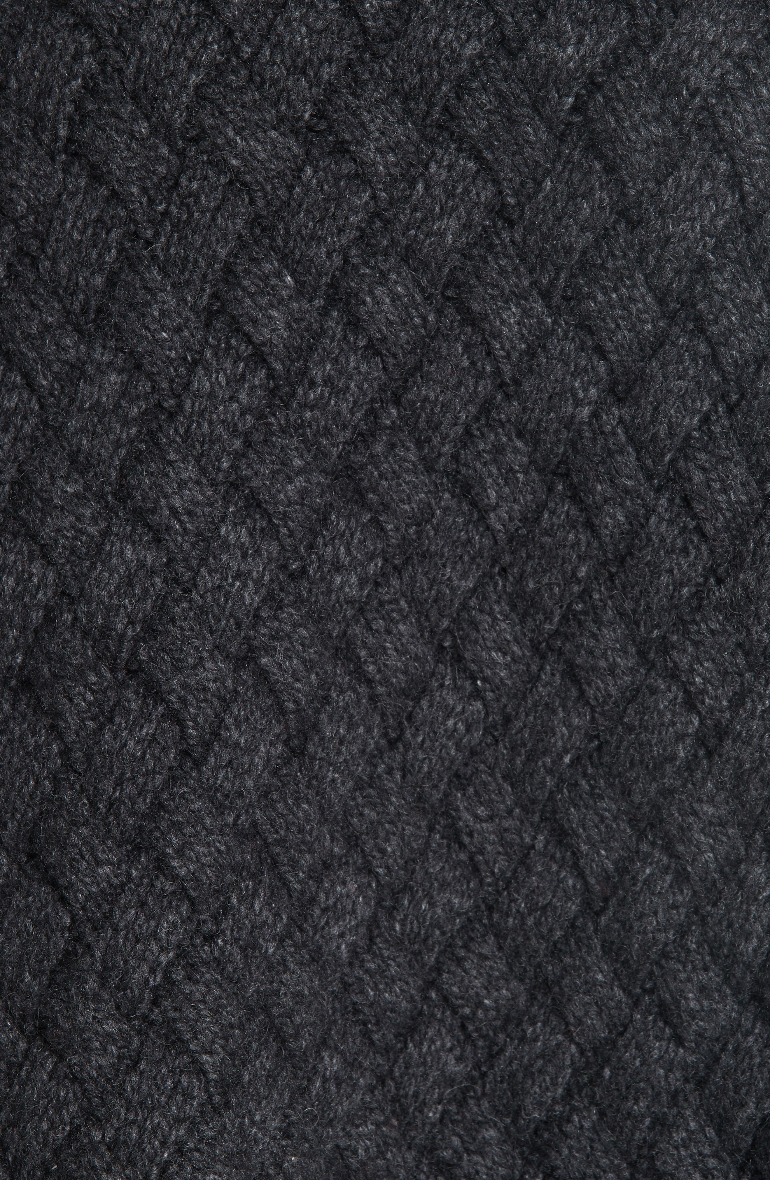 Oversized Braided Cashmere Sweater,                             Alternate thumbnail 6, color,                             DARK GREY