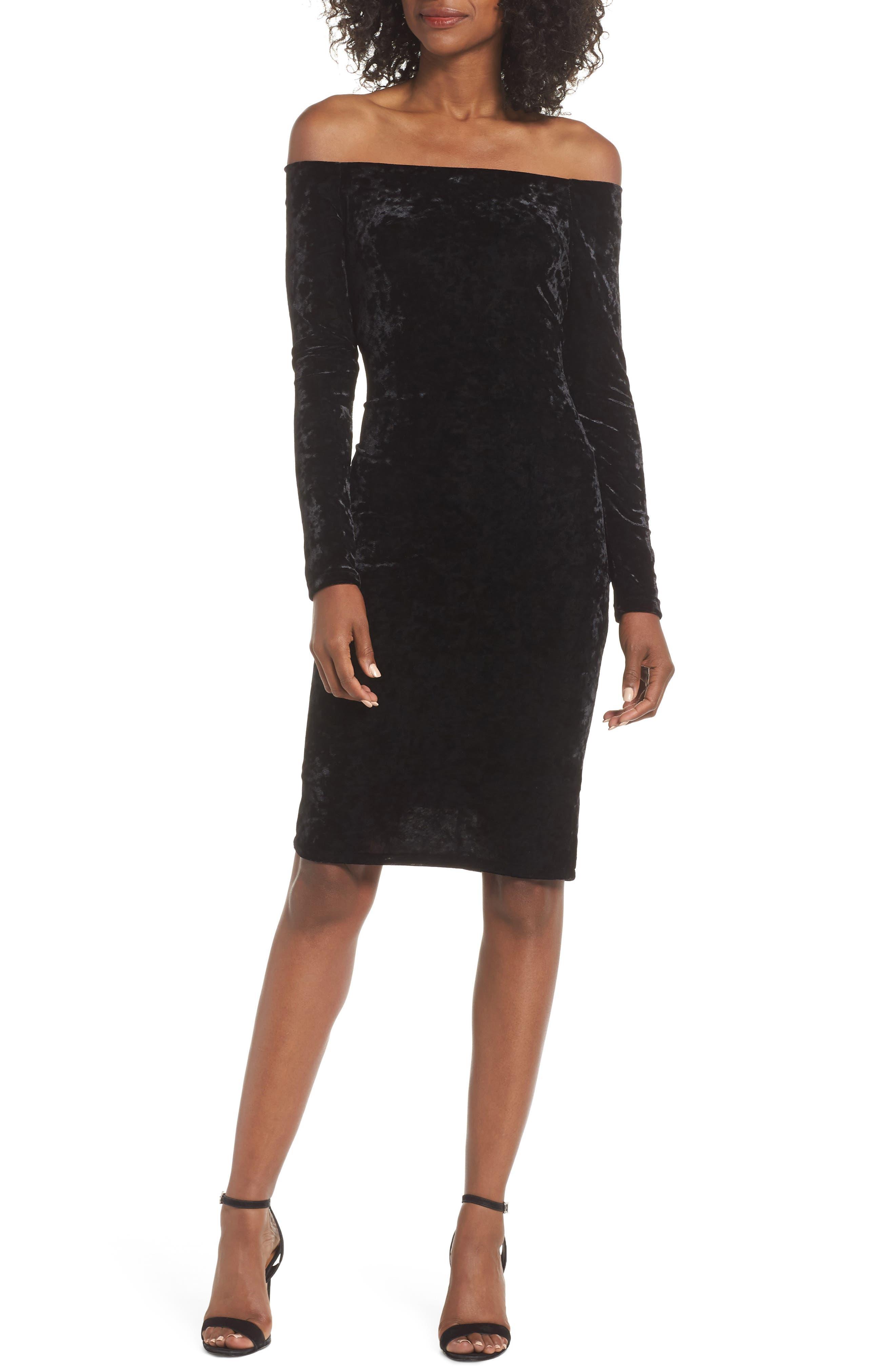 Eliza J Off The Shoulder Velvet Sheath Dress