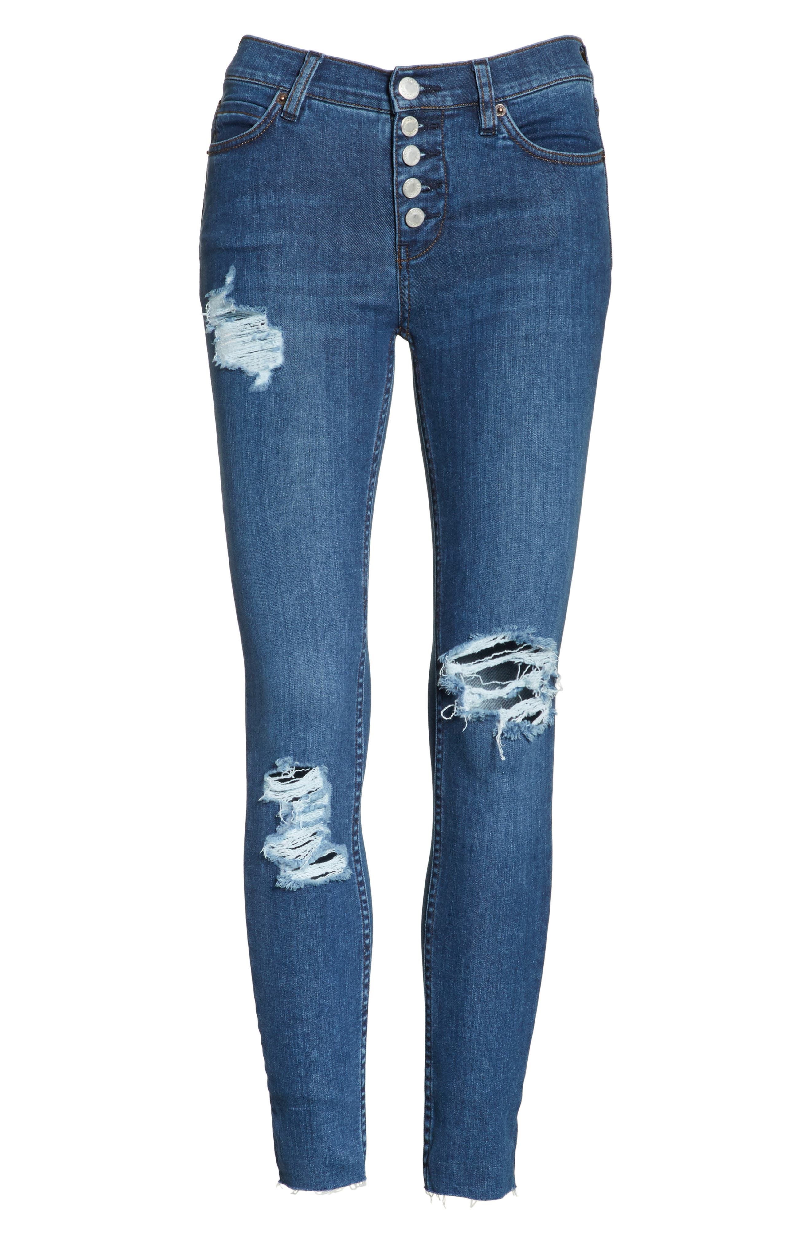 We the Free by Free People Reagan Destroyed Crop Skinny Jeans,                             Alternate thumbnail 6, color,