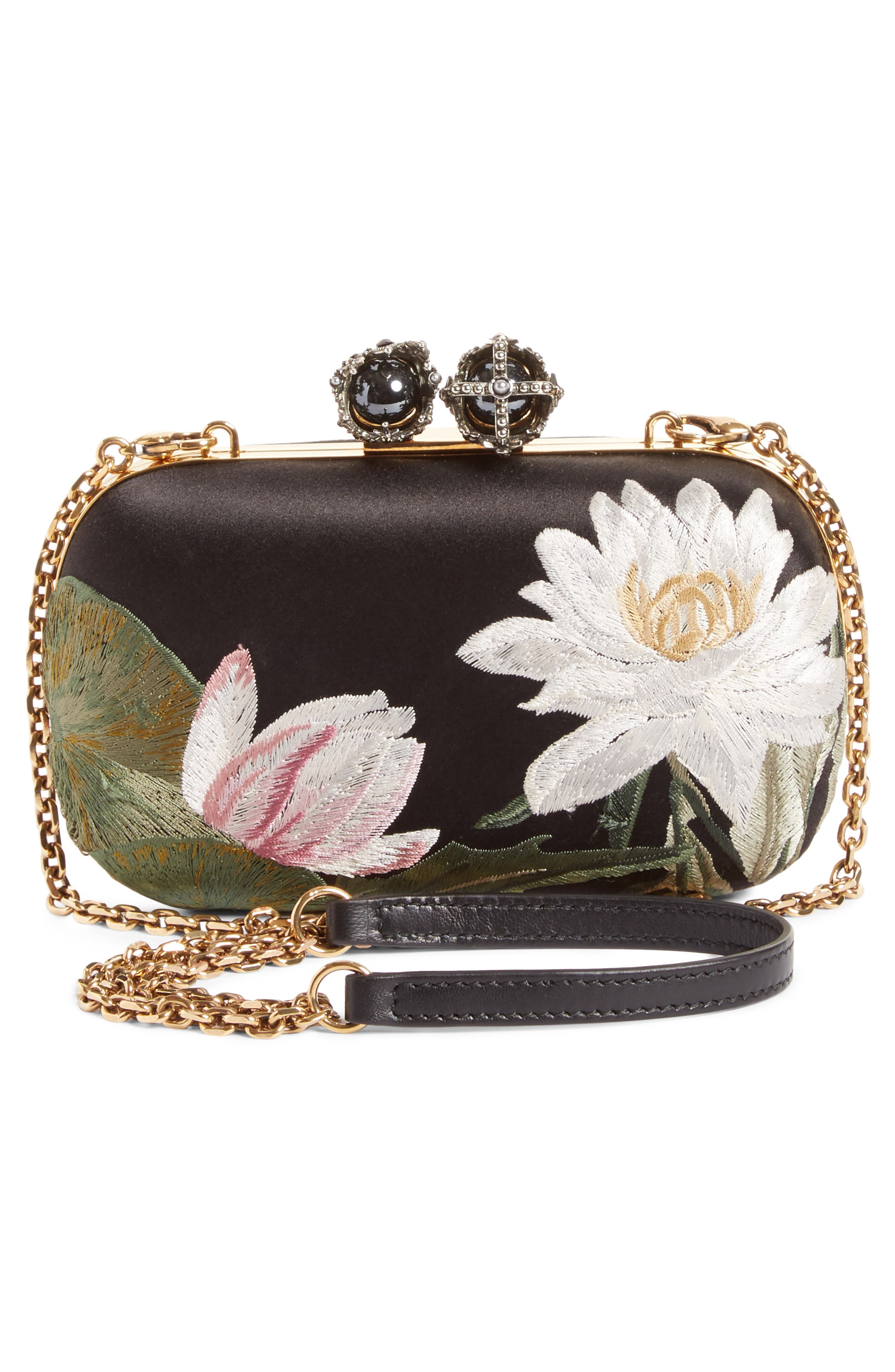 Queen & King Embroidered Satin Clutch,                             Alternate thumbnail 3, color,                             964
