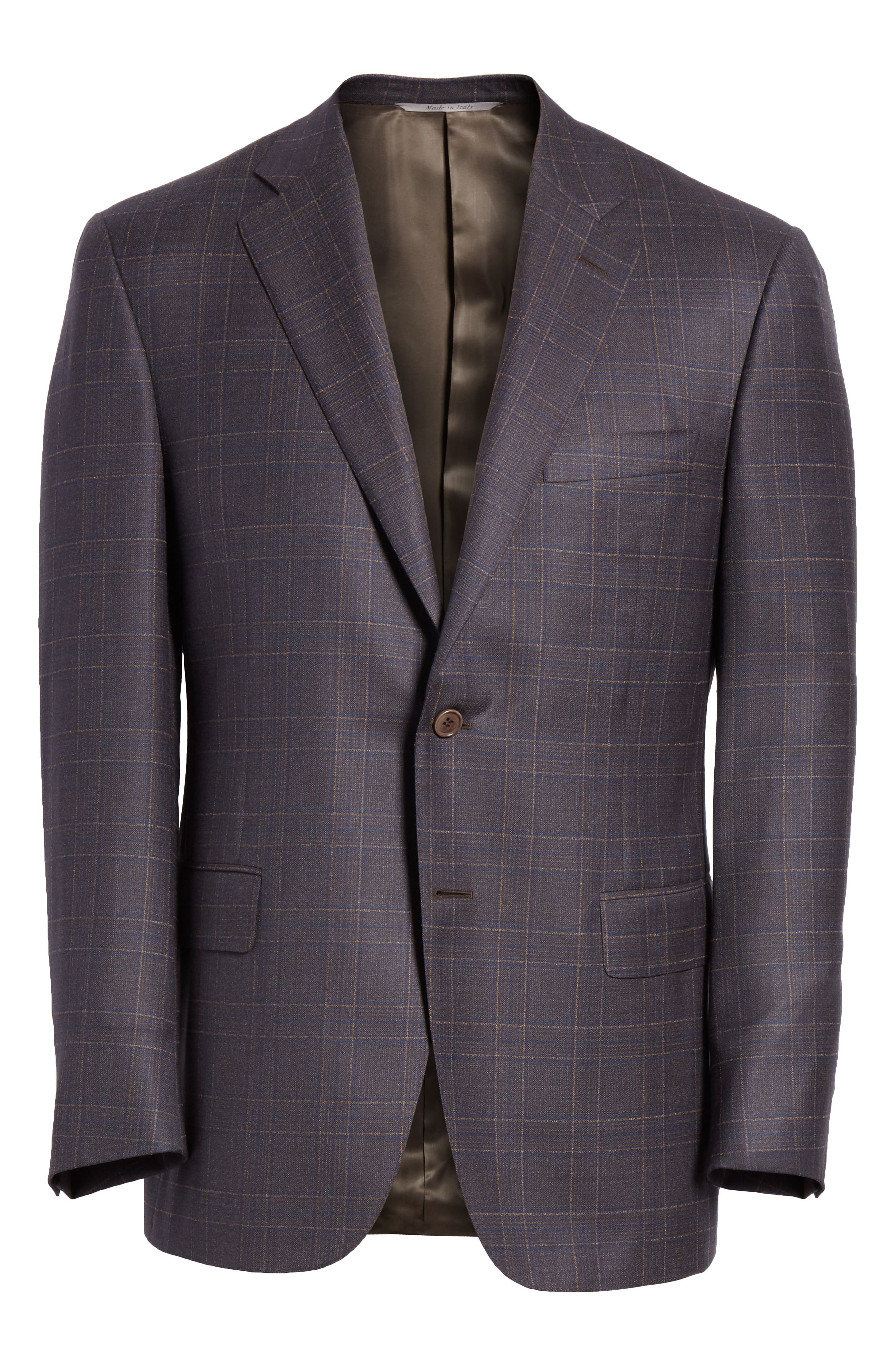 Classic Fit Plaid Wool Sport Coat,                             Alternate thumbnail 5, color,                             MED BROWN