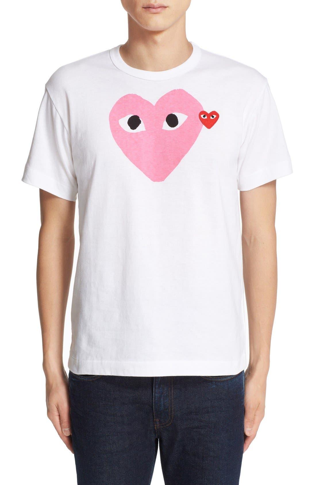Comme des Garçons PLAY Heart Print T-Shirt,                         Main,                         color, PINK