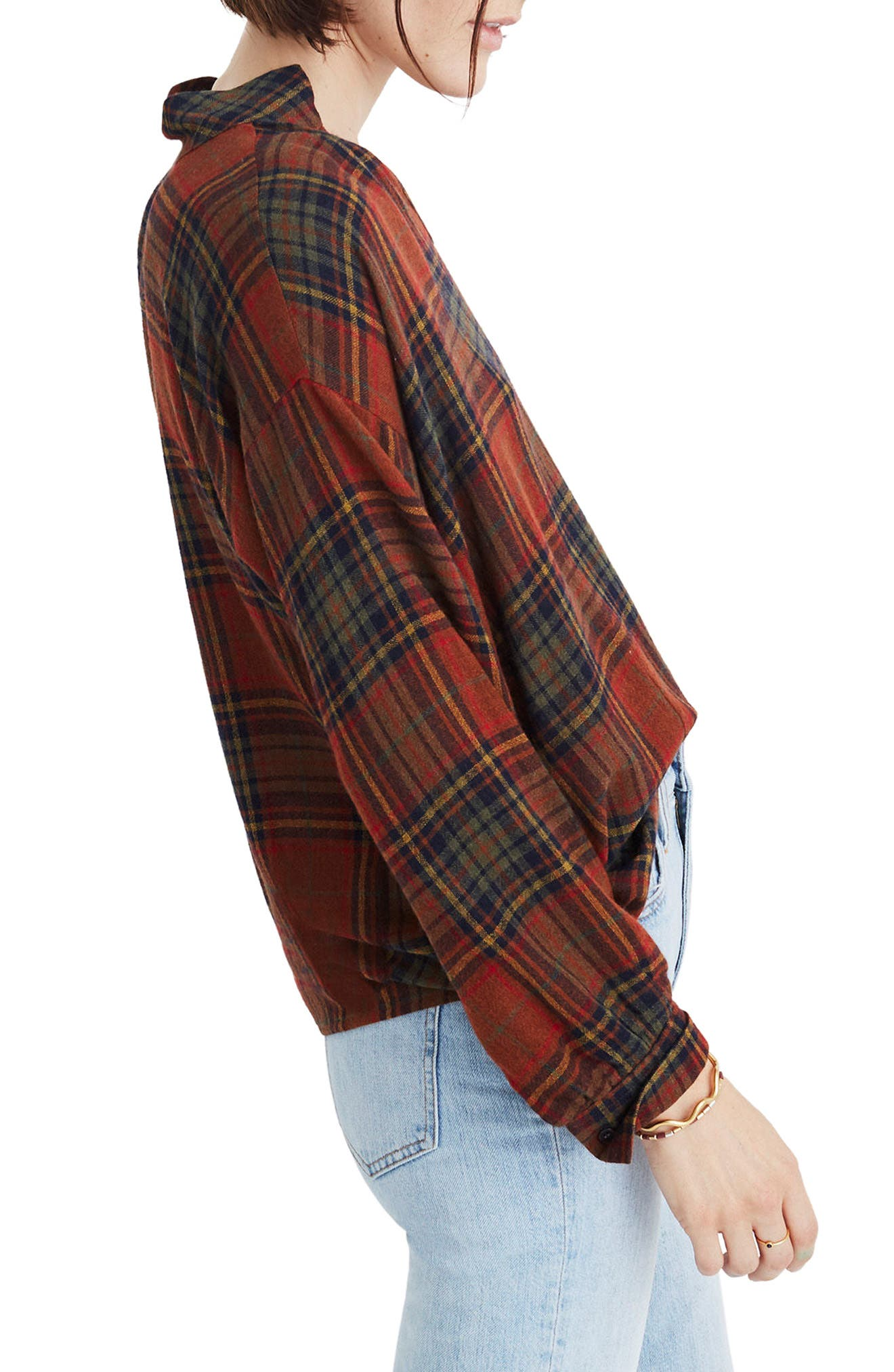 Highroad Plaid Popover Shirt,                             Alternate thumbnail 3, color,                             800