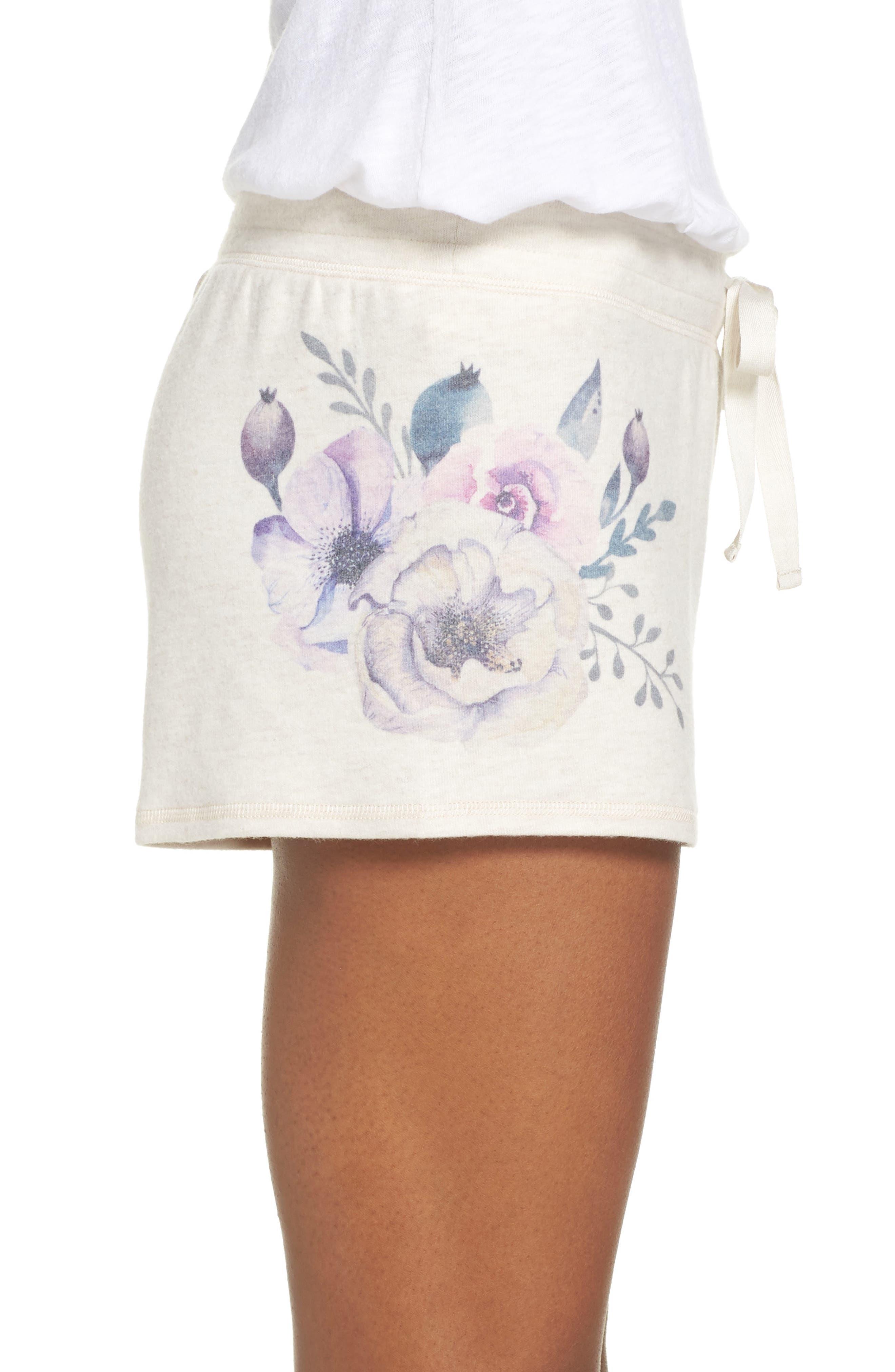 Peachy Floral Pajama Shorts,                             Alternate thumbnail 3, color,                             900