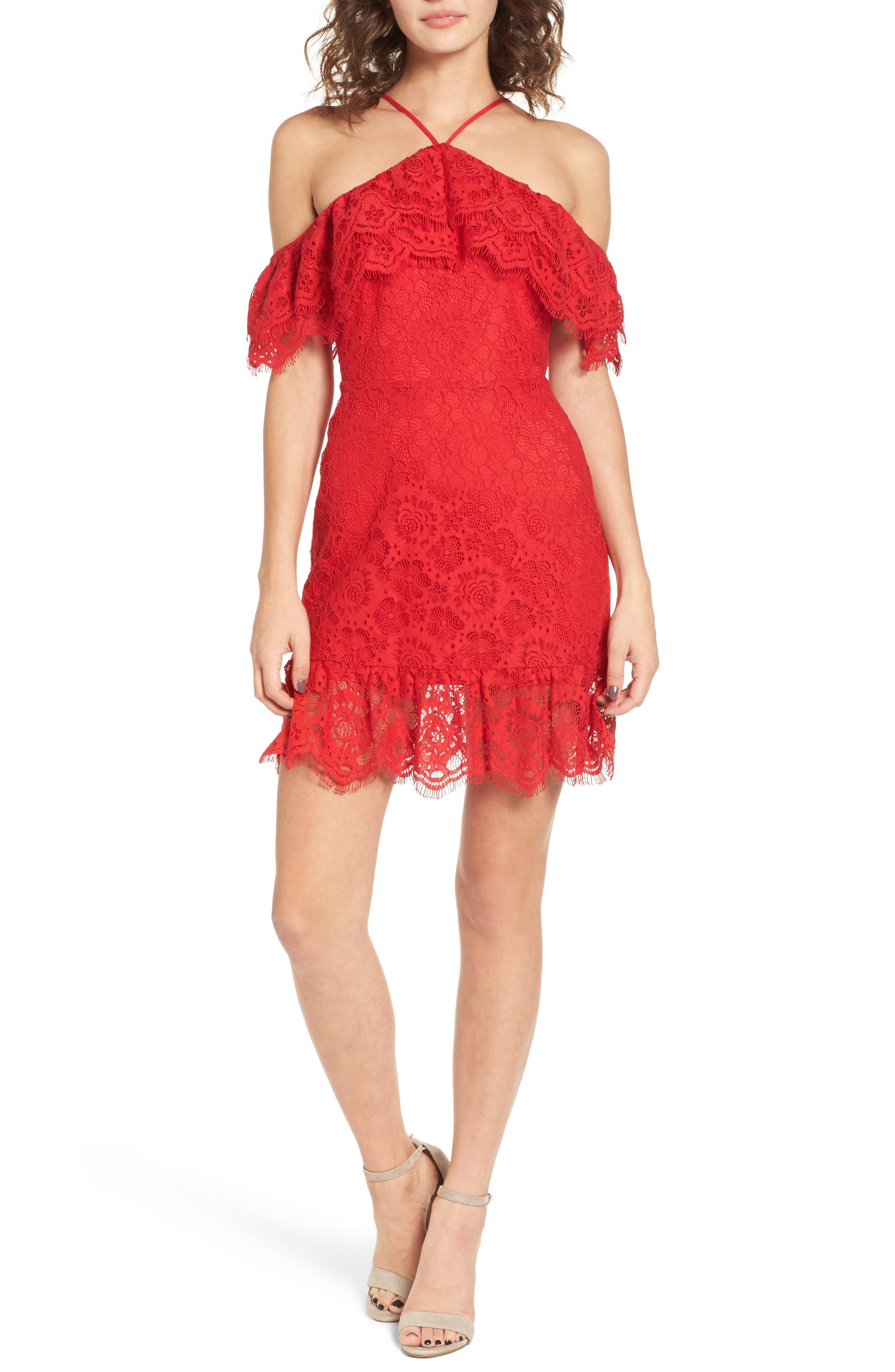 L'Amour Ruffle Halter Dress,                             Main thumbnail 1, color,                             600