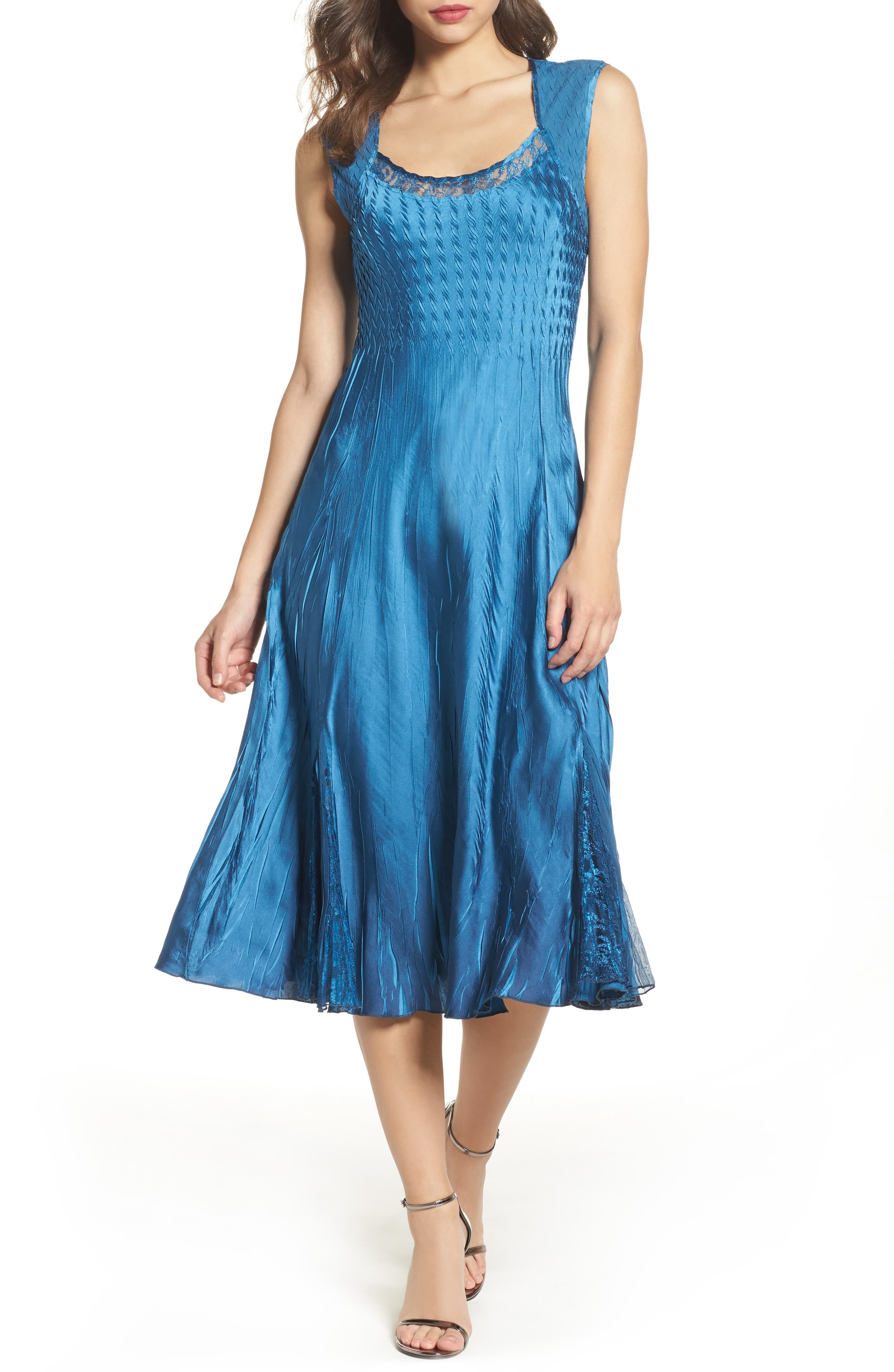 Lace & Charmeuse Dress with Jacket,                             Alternate thumbnail 3, color,                             407