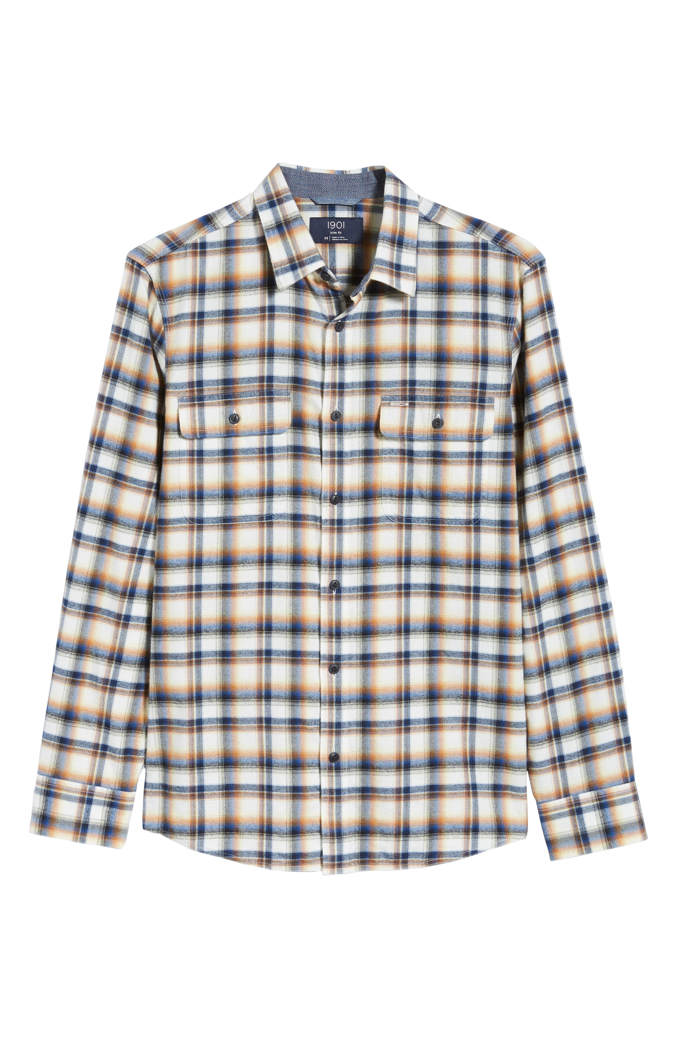 Trim Fit Trucker Plaid Sport Shirt,                             Alternate thumbnail 5, color,                             IVORY BLUE ORANGE PLAID