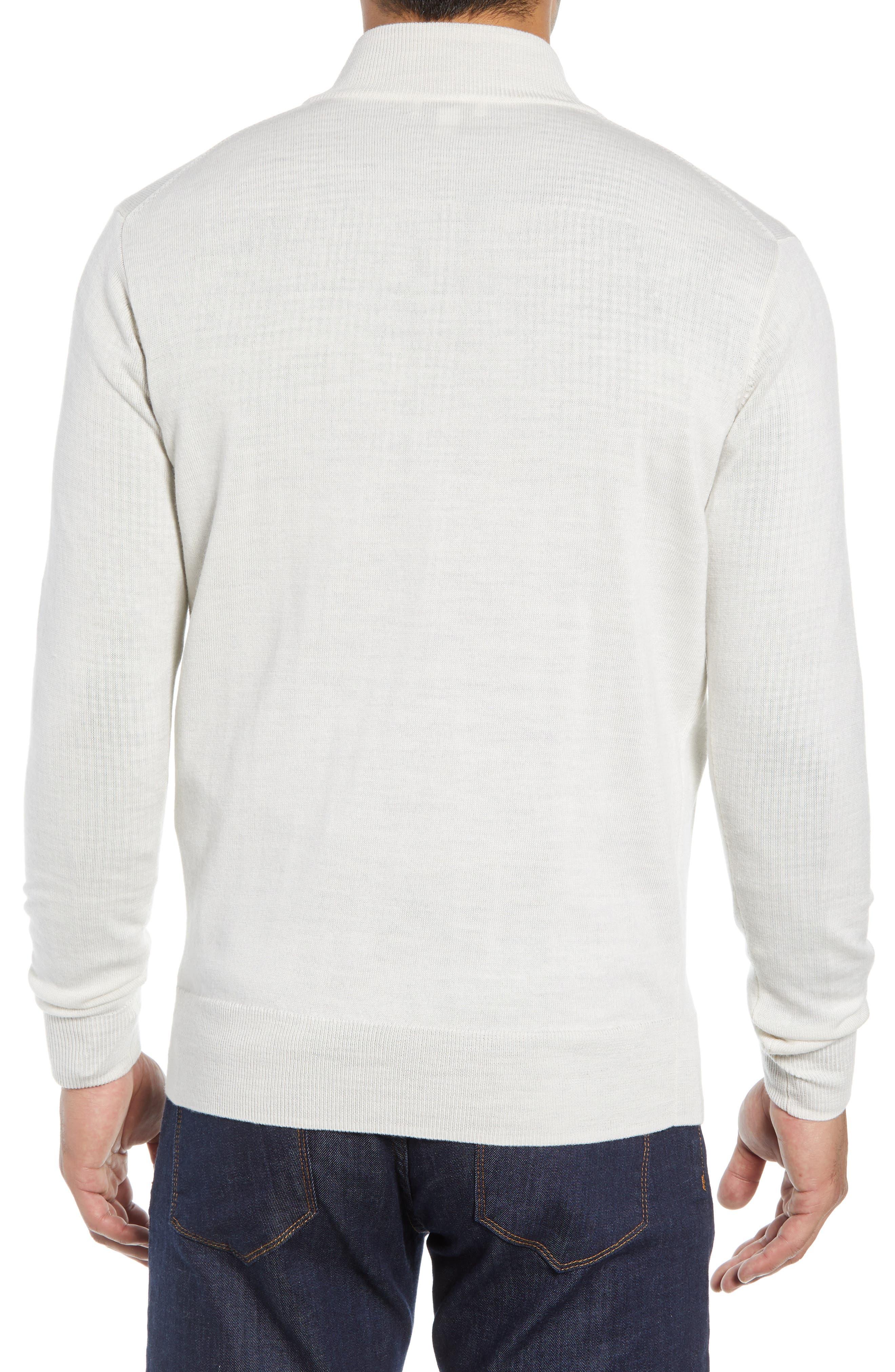 Crown Soft Regular Fit Wool Blend Quarter Zip Sweater,                             Alternate thumbnail 2, color,                             WHITE