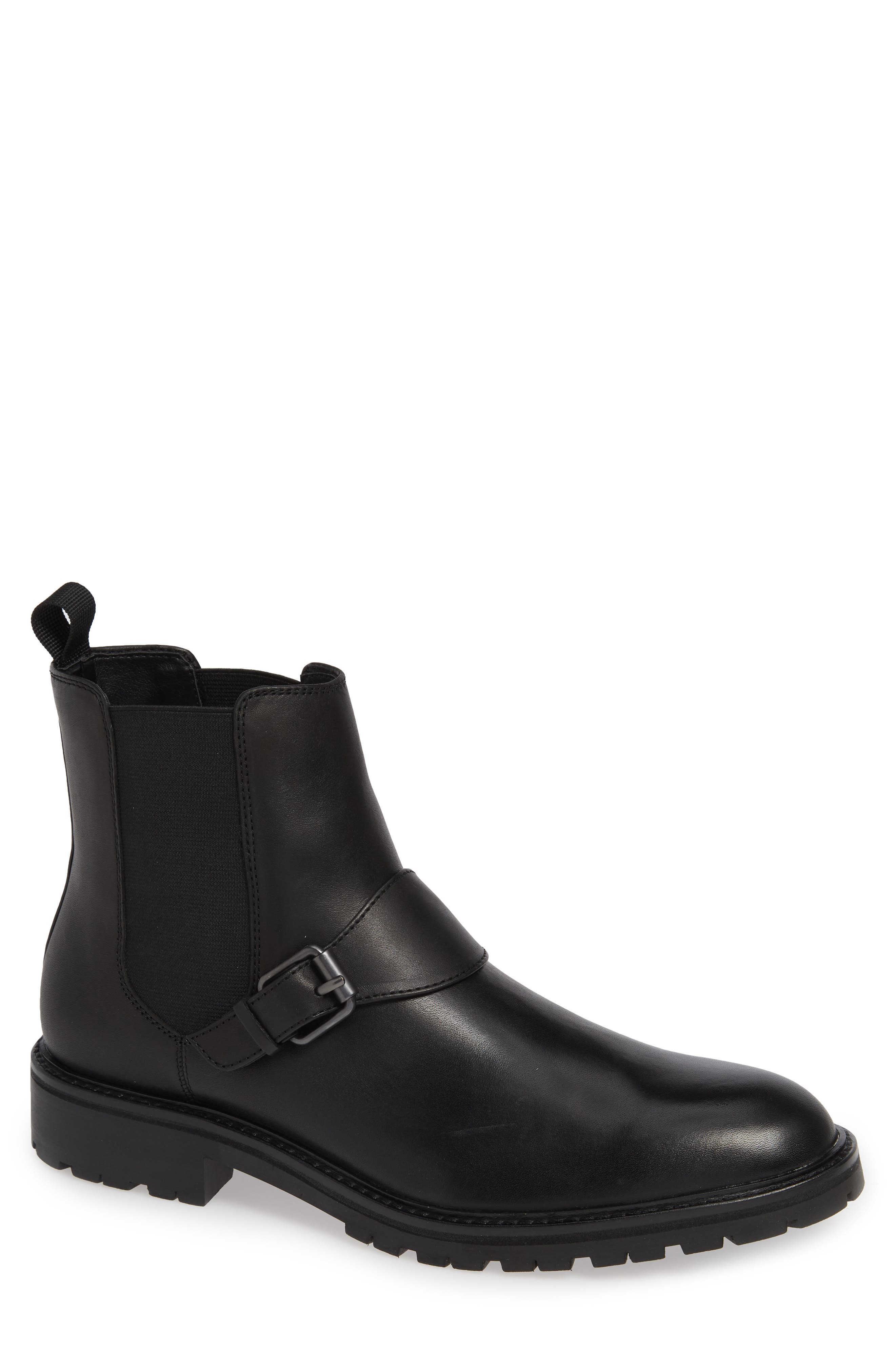 Upton Chelsea Buckle Boot,                             Main thumbnail 1, color,                             BLACK LEATHER