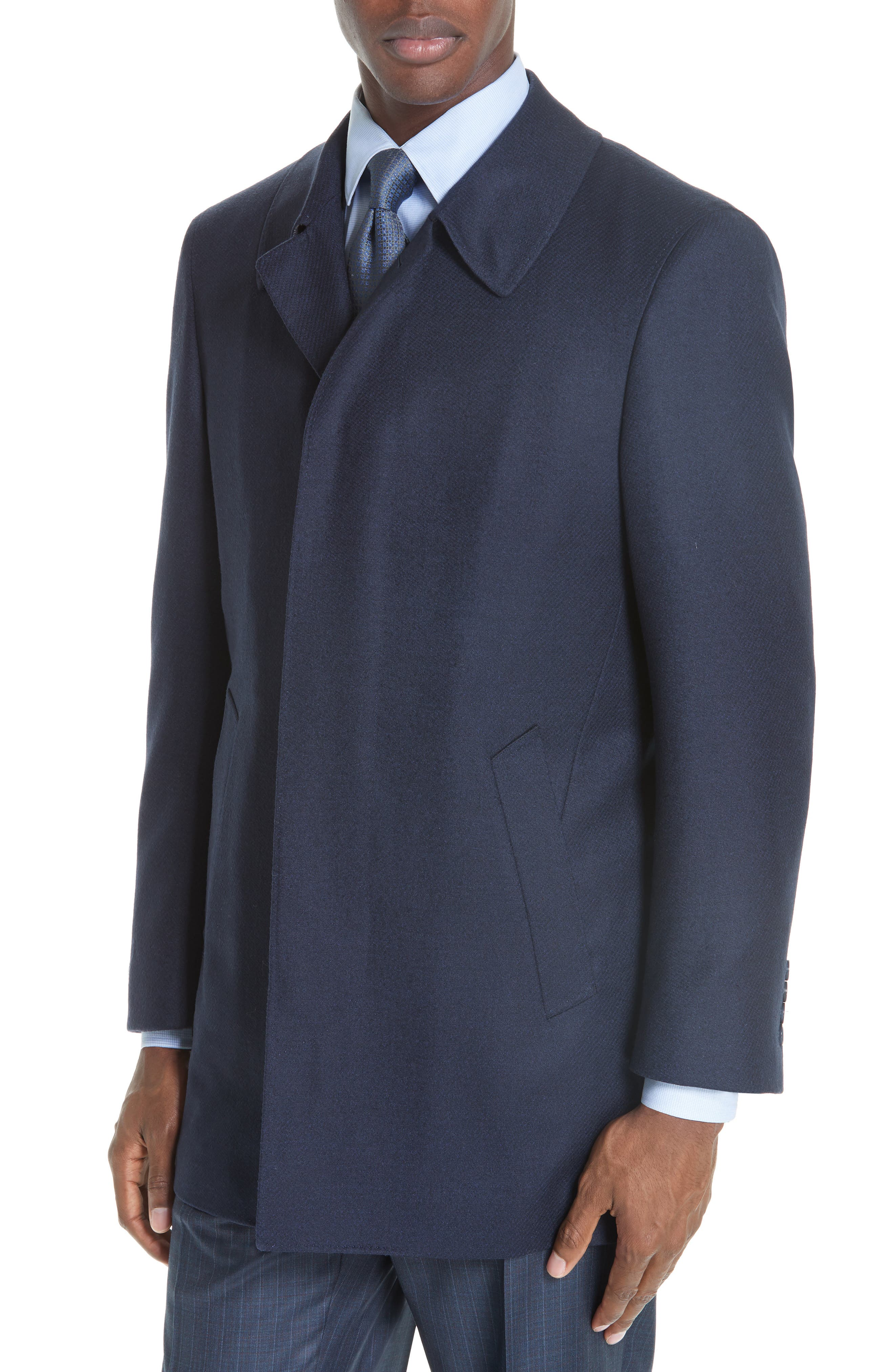 Impeccabile Wool Car Coat,                             Alternate thumbnail 4, color,                             NAVY