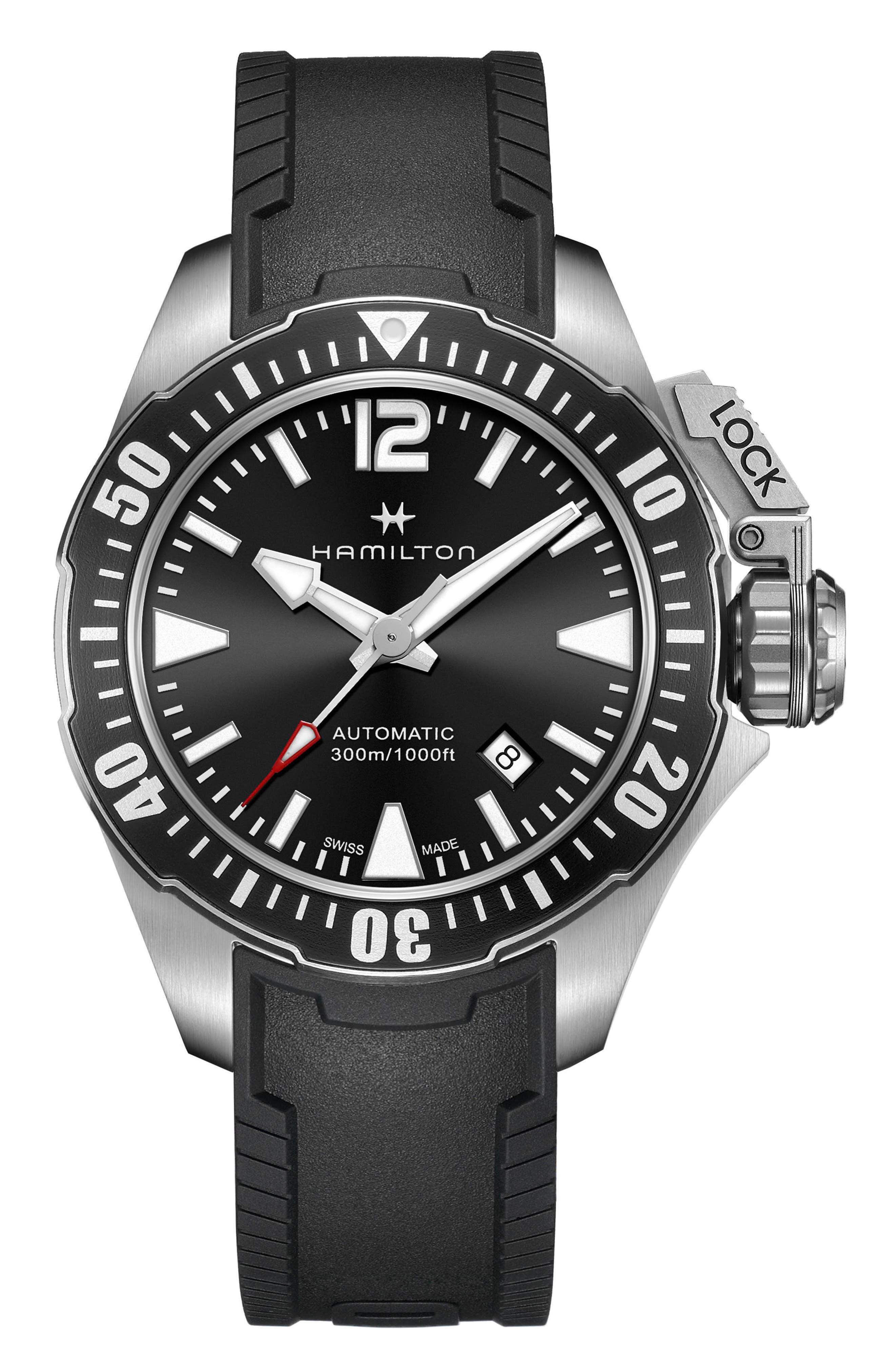 HAMILTON,                             Khaki Navy Frogman Automatic Silicone Strap Watch, 42mm,                             Main thumbnail 1, color,                             001