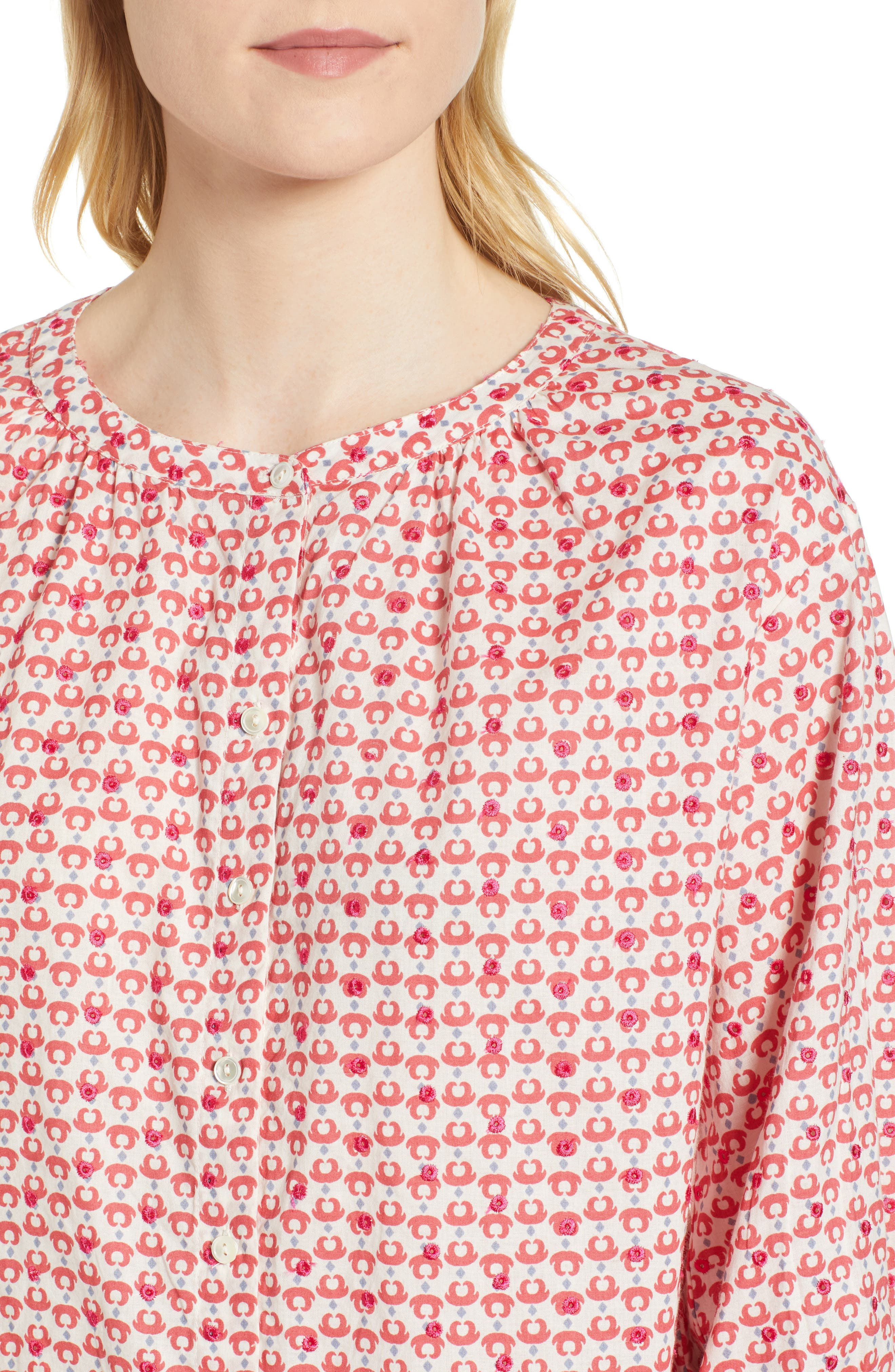 Embroidered Print Blouse,                             Alternate thumbnail 4, color,