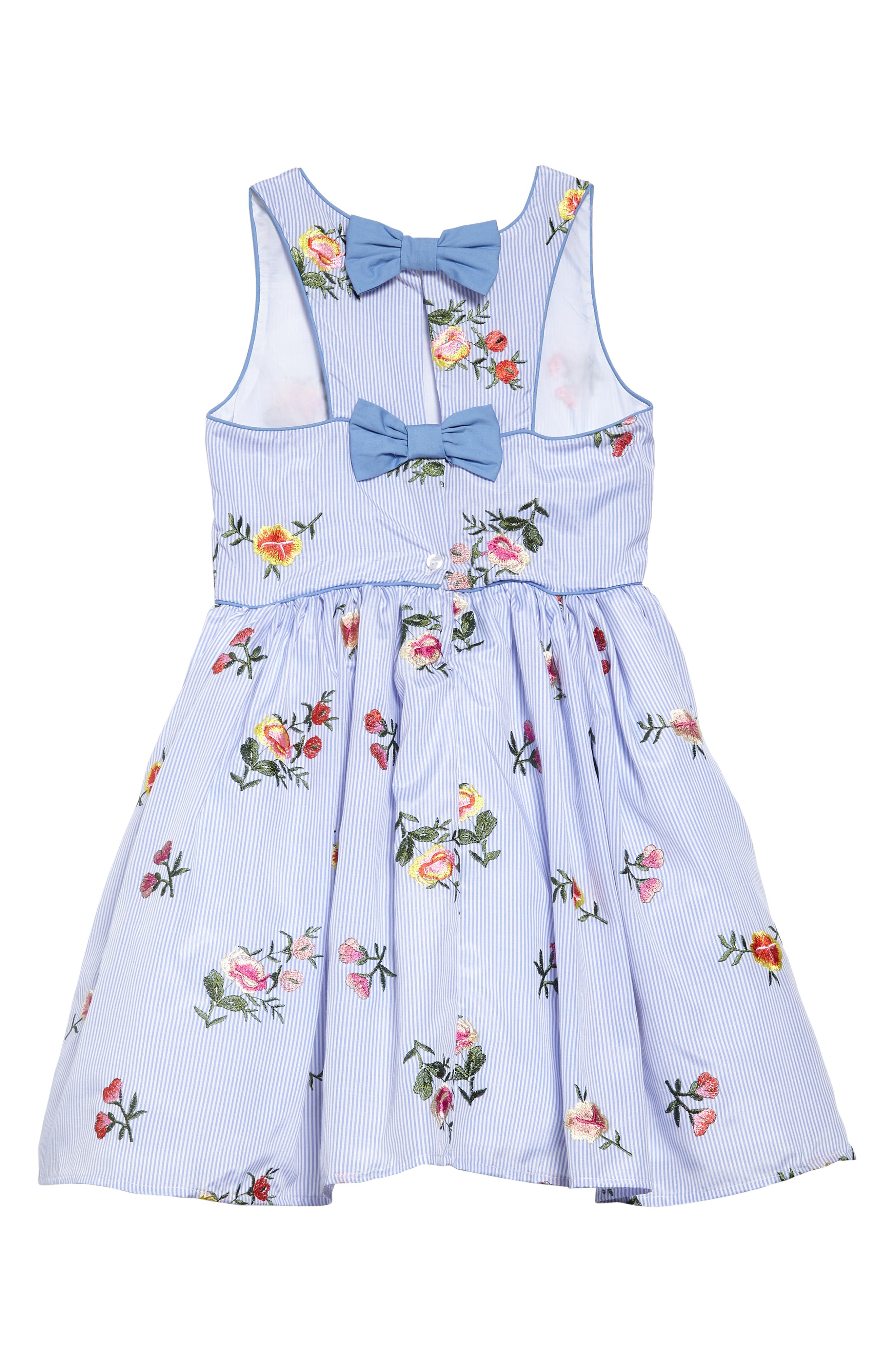 ZUNIE,                             Stripe Embroidered Flower Sleeveless Dress,                             Alternate thumbnail 2, color,                             424