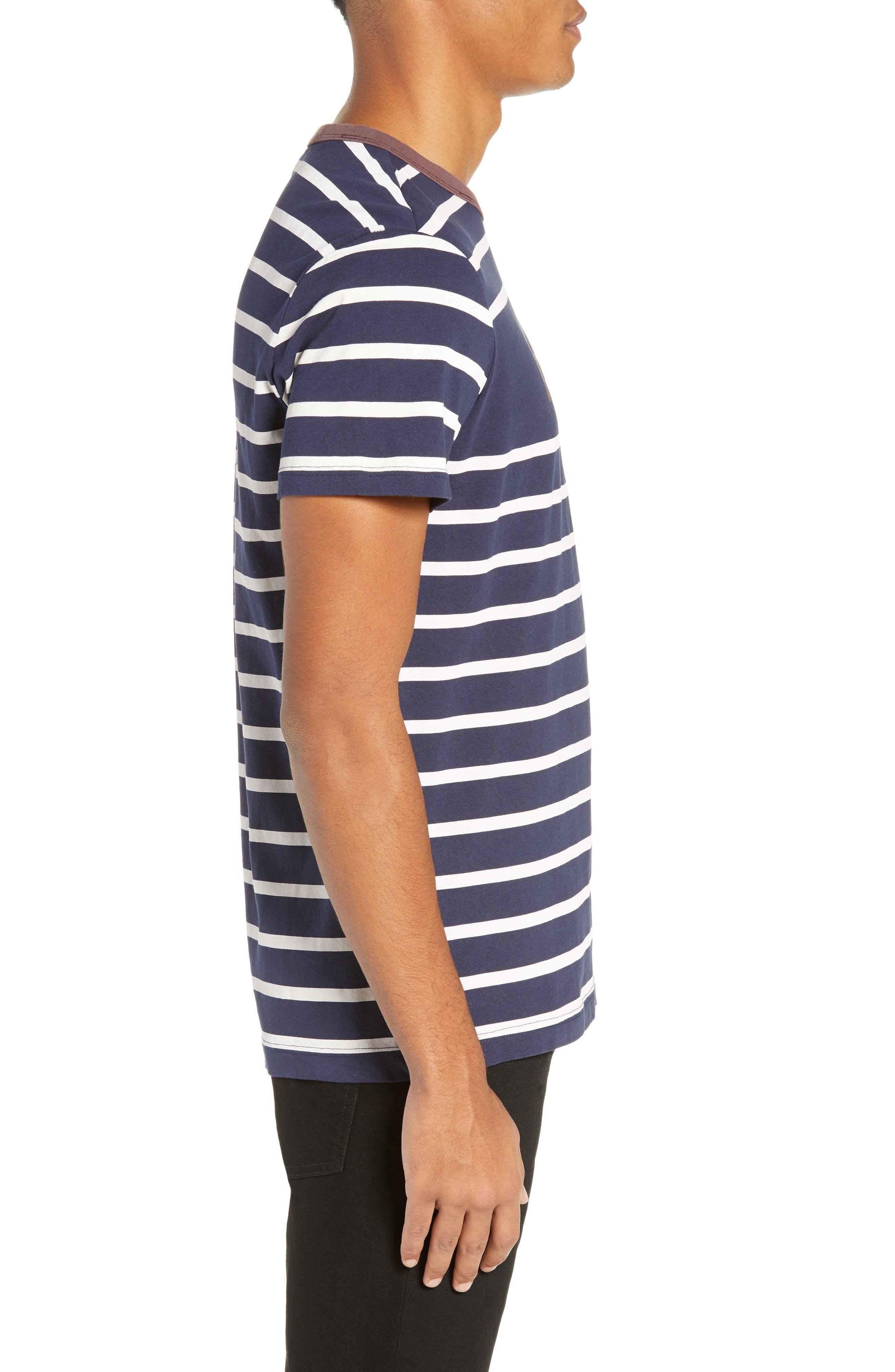 Mow Stripe Logo T-Shirt,                             Alternate thumbnail 3, color,                             SARTHO BLUE/ WHITE