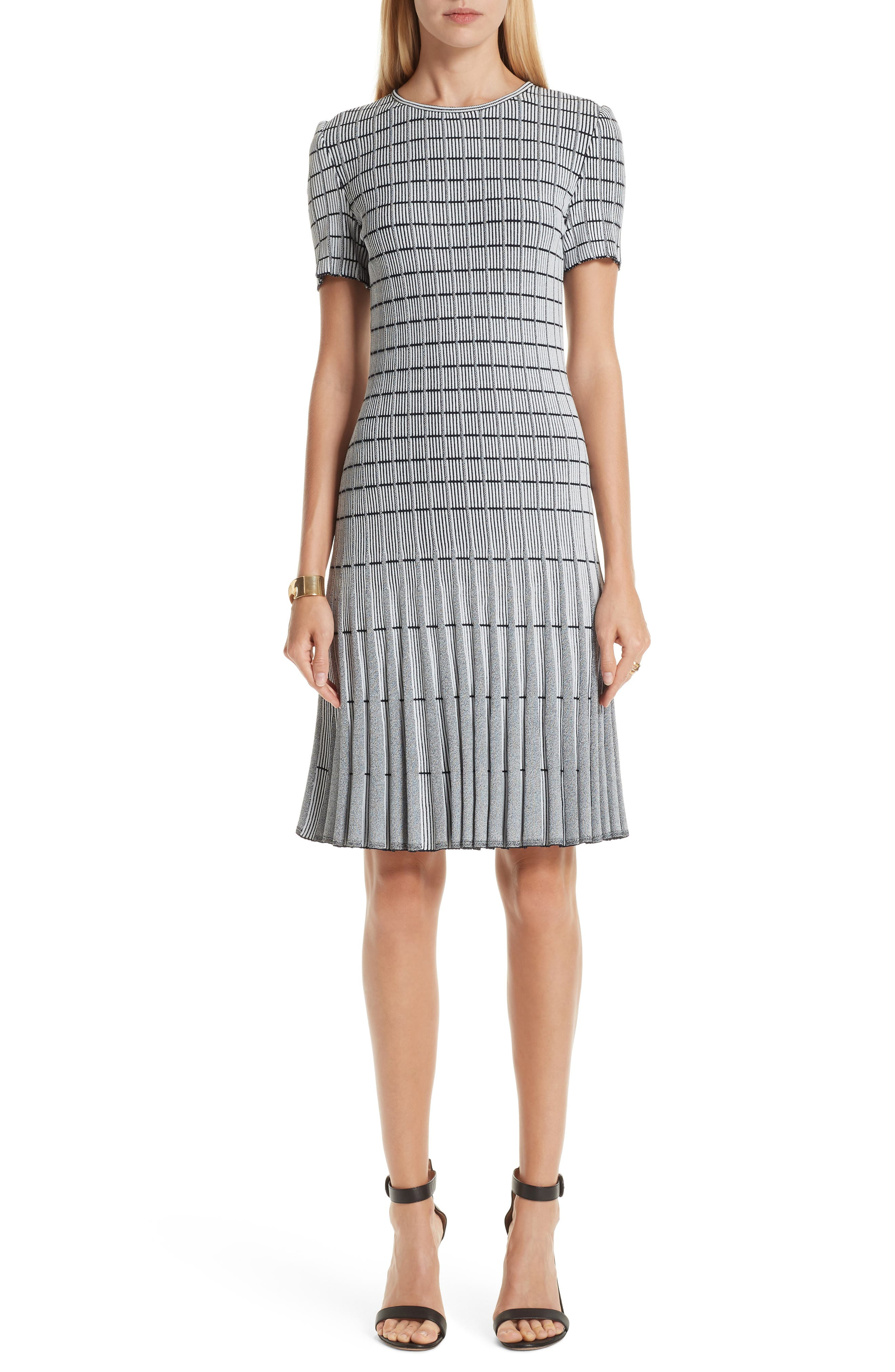 Jewel-Neck Short-Sleeve Monochrome Ottoman Knit Fit-And-Flare Dress in Grey/ Navy