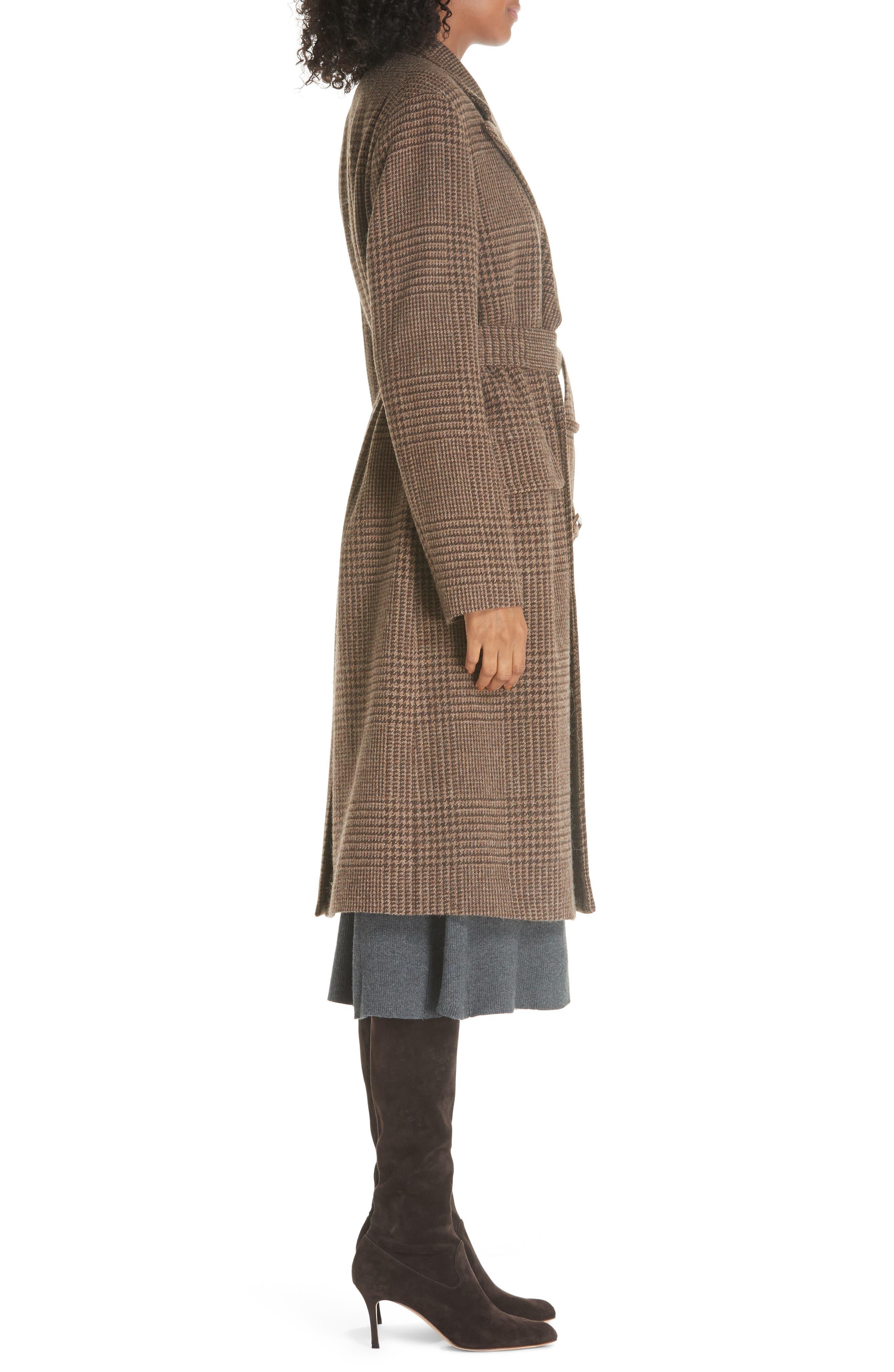 Plaid Lambswool & Alpaca Belted Coat,                             Alternate thumbnail 3, color,                             BROWN GLEN PLAID