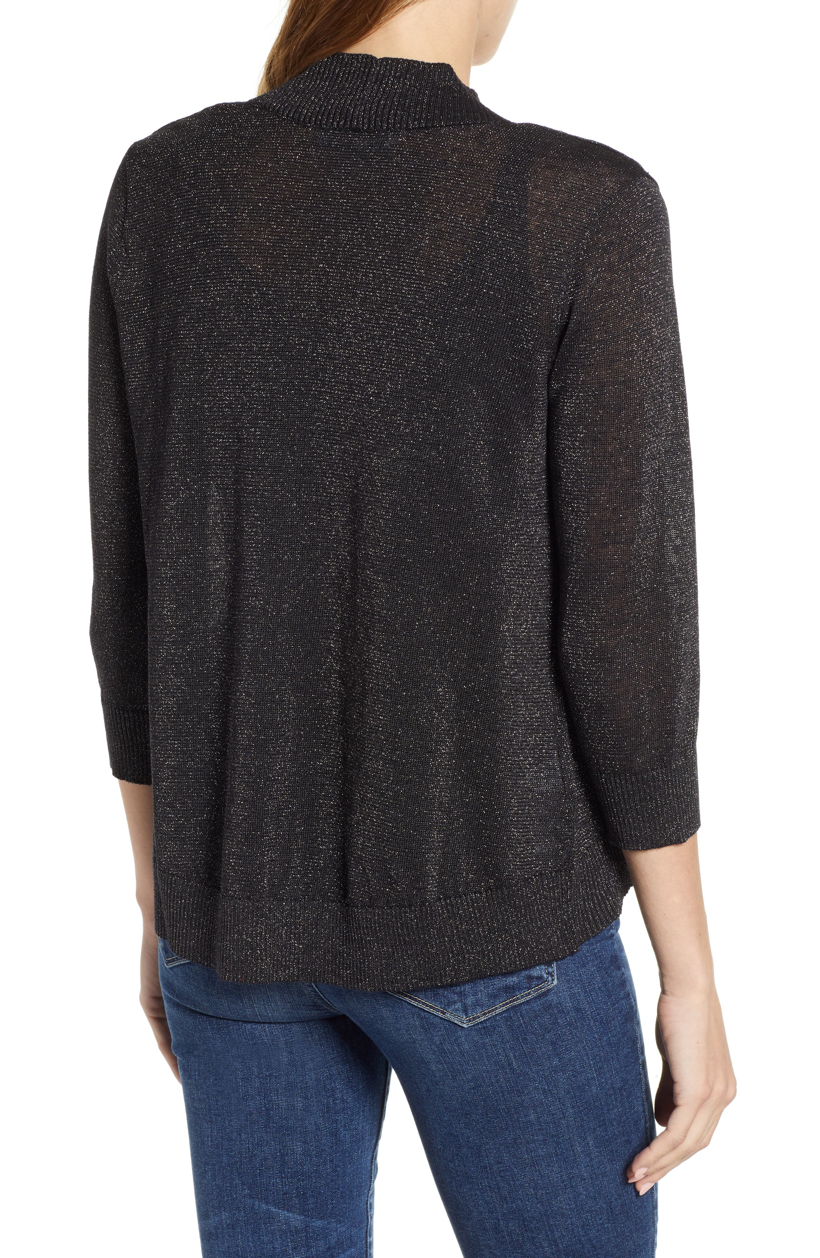 Lea Shimmer Open Front Cardigan,                             Alternate thumbnail 2, color,                             PEWTER