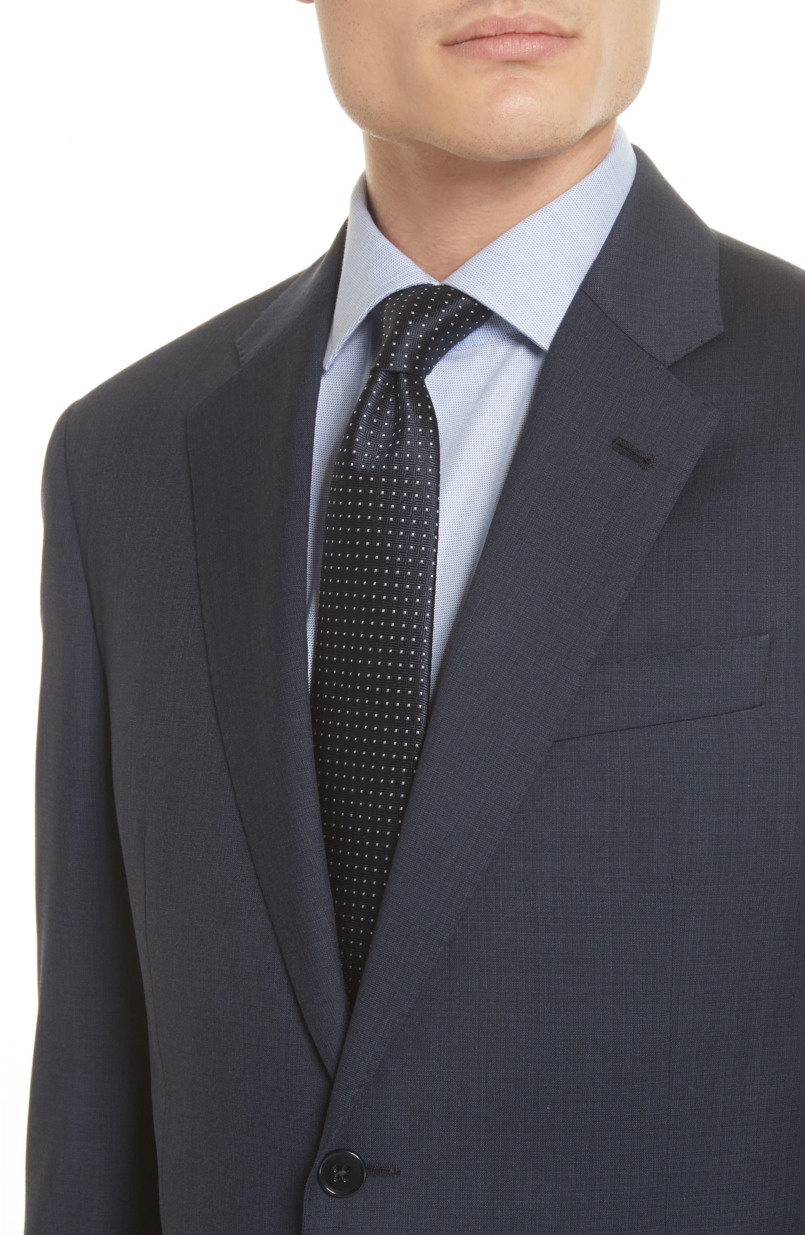 Trim Fit Sharkskin Wool Suit,                             Alternate thumbnail 8, color,