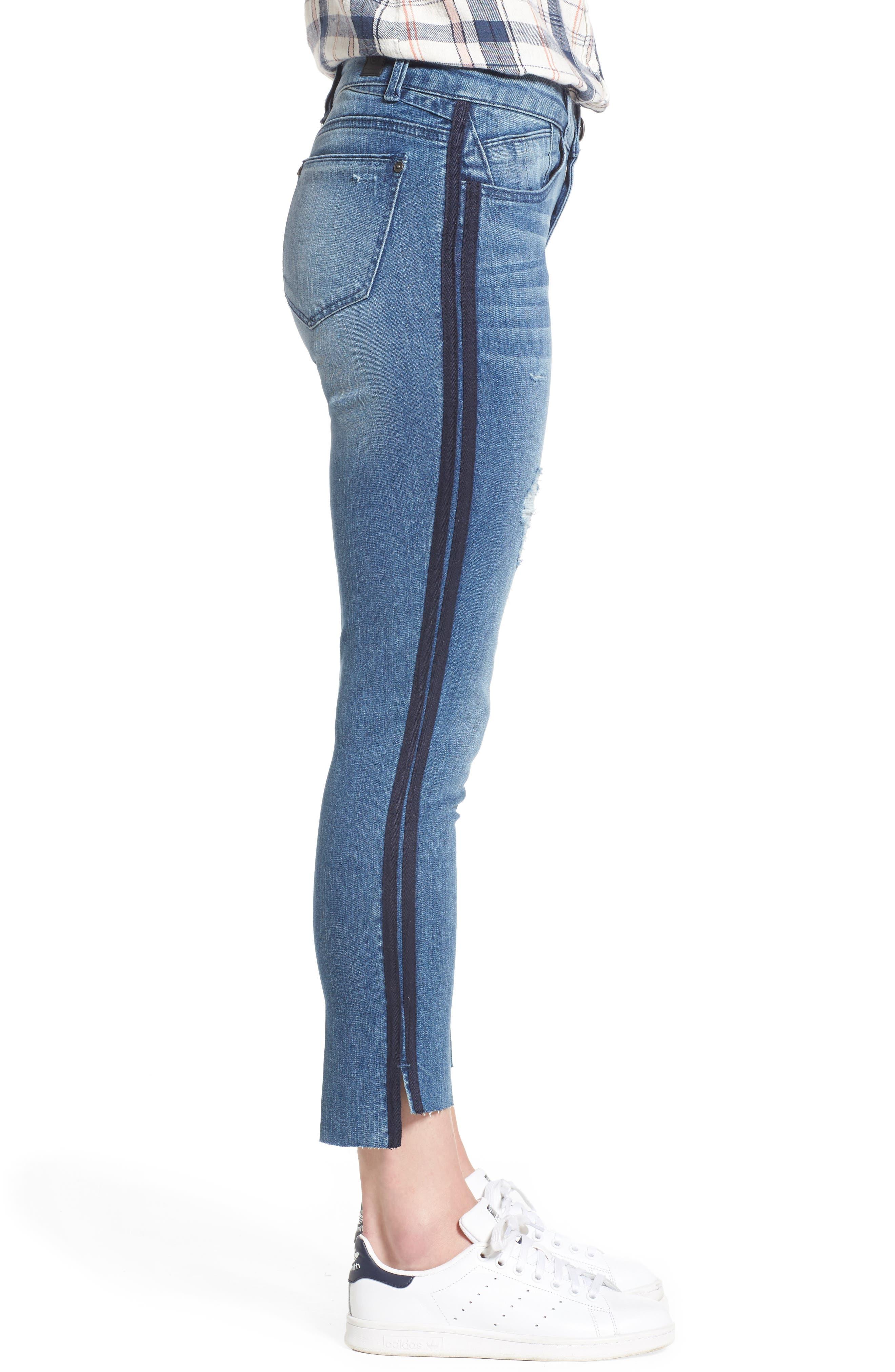 Side Stripe Ankle Jeans,                             Alternate thumbnail 3, color,