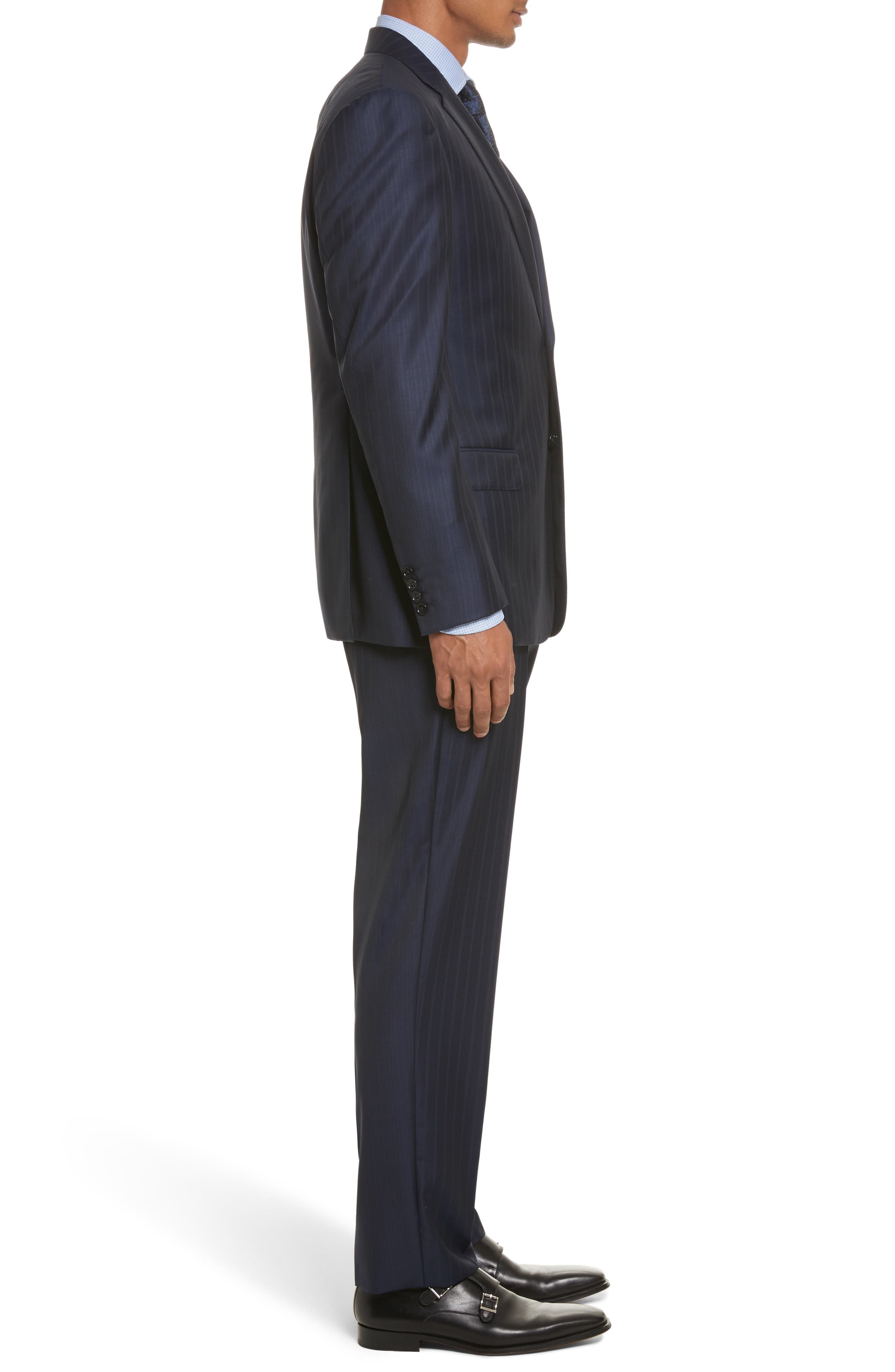 G-Line Trim Fit Stripe Wool Suit,                             Alternate thumbnail 3, color,                             433