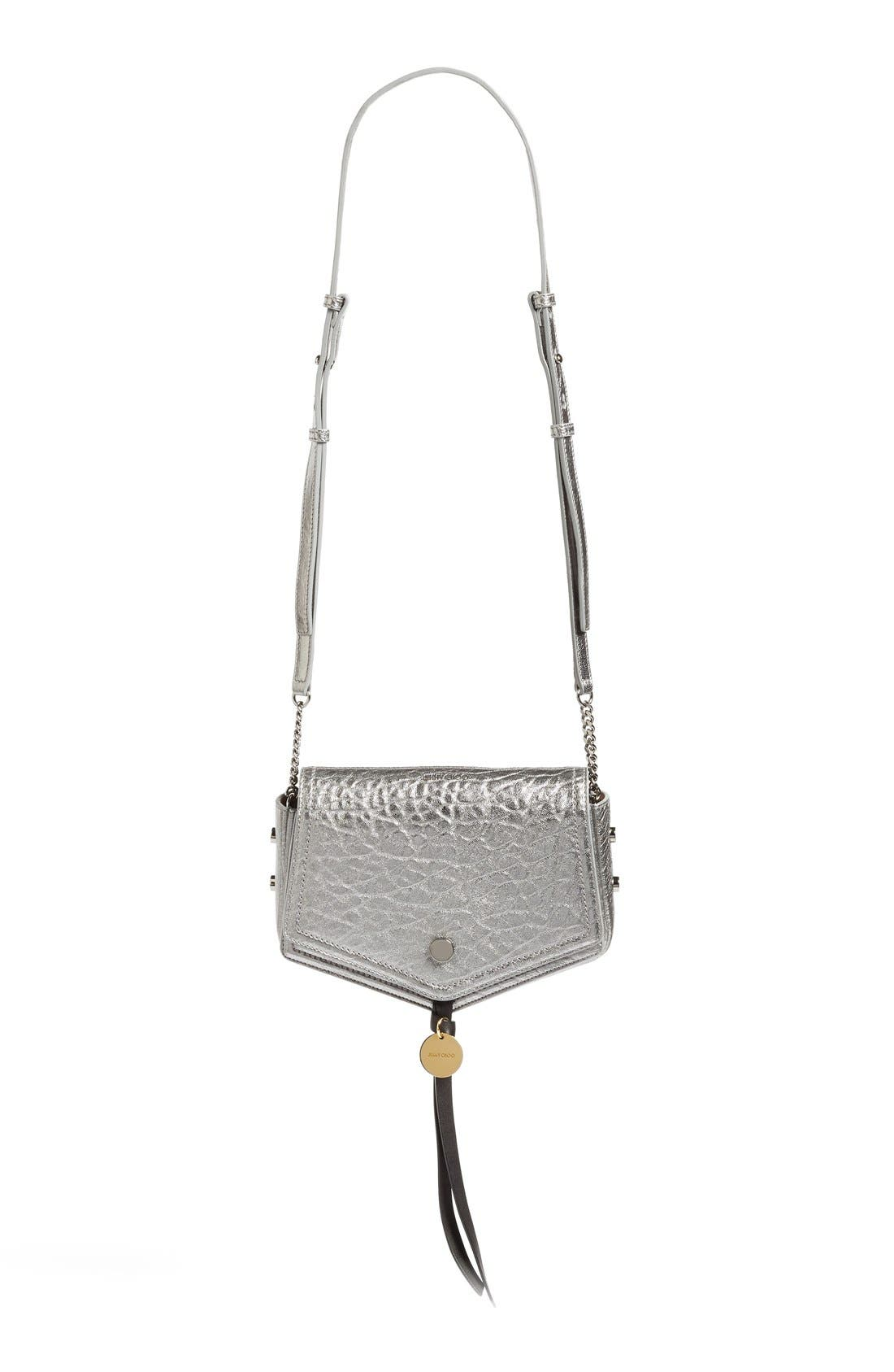 Arrow Metallic Grained Leather Shoulder Bag,                             Main thumbnail 1, color,