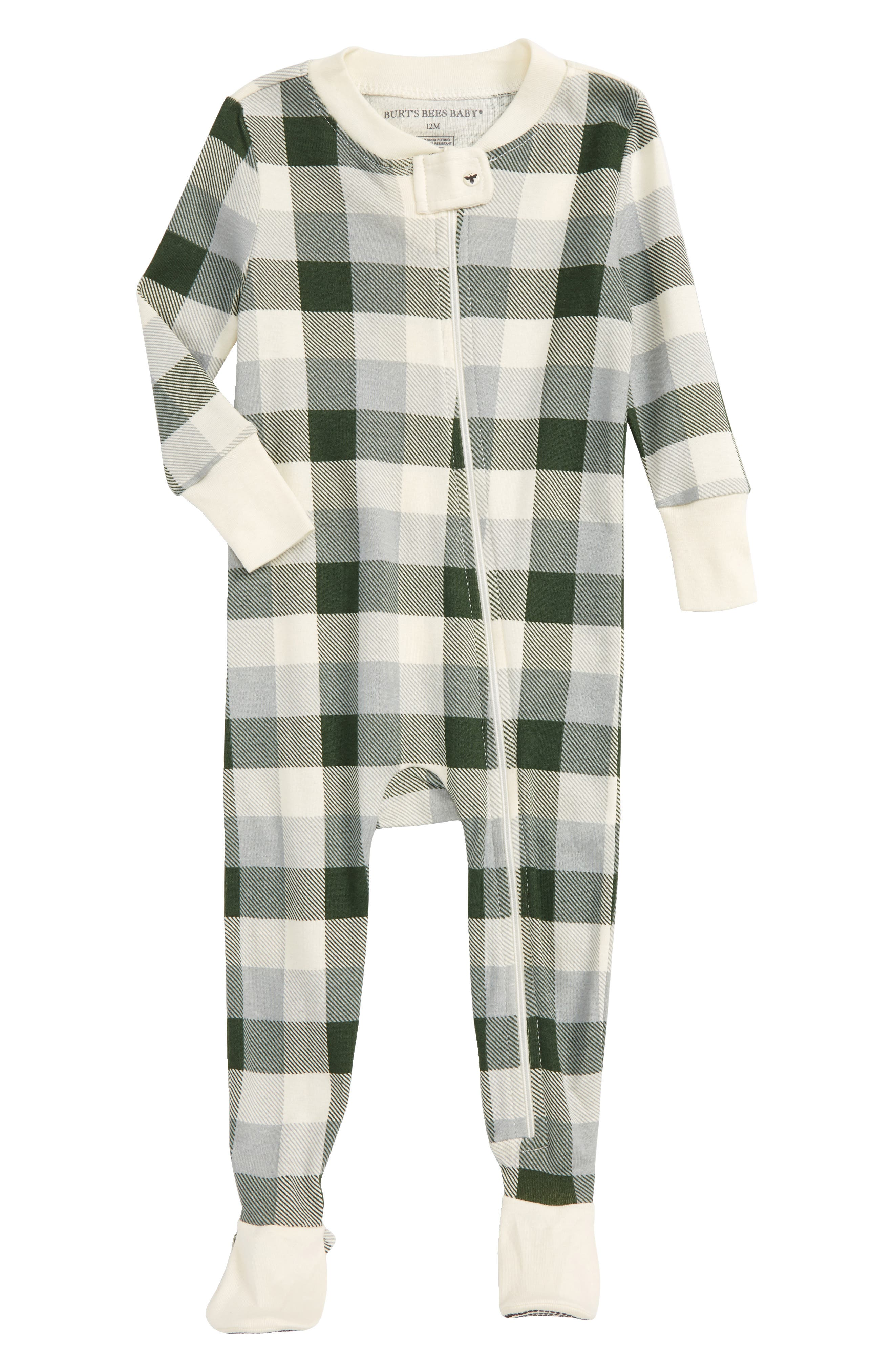 BURT'S BEES BABY Buffalo Check Fitted One-Piece Pajamas, Main, color, 300