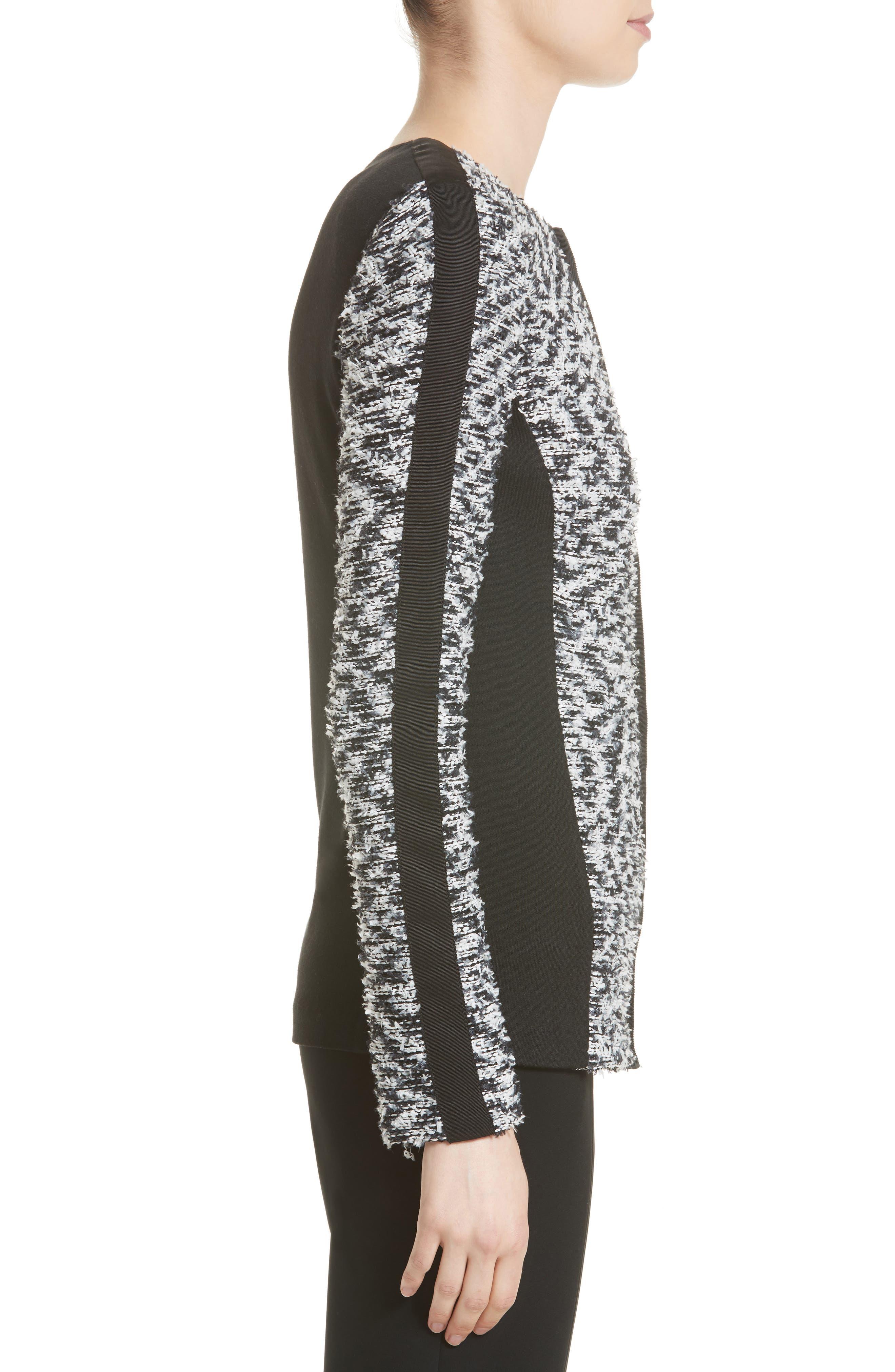 Eyelash Pebble Dash Tweed Knit Jacket,                             Alternate thumbnail 3, color,                             001
