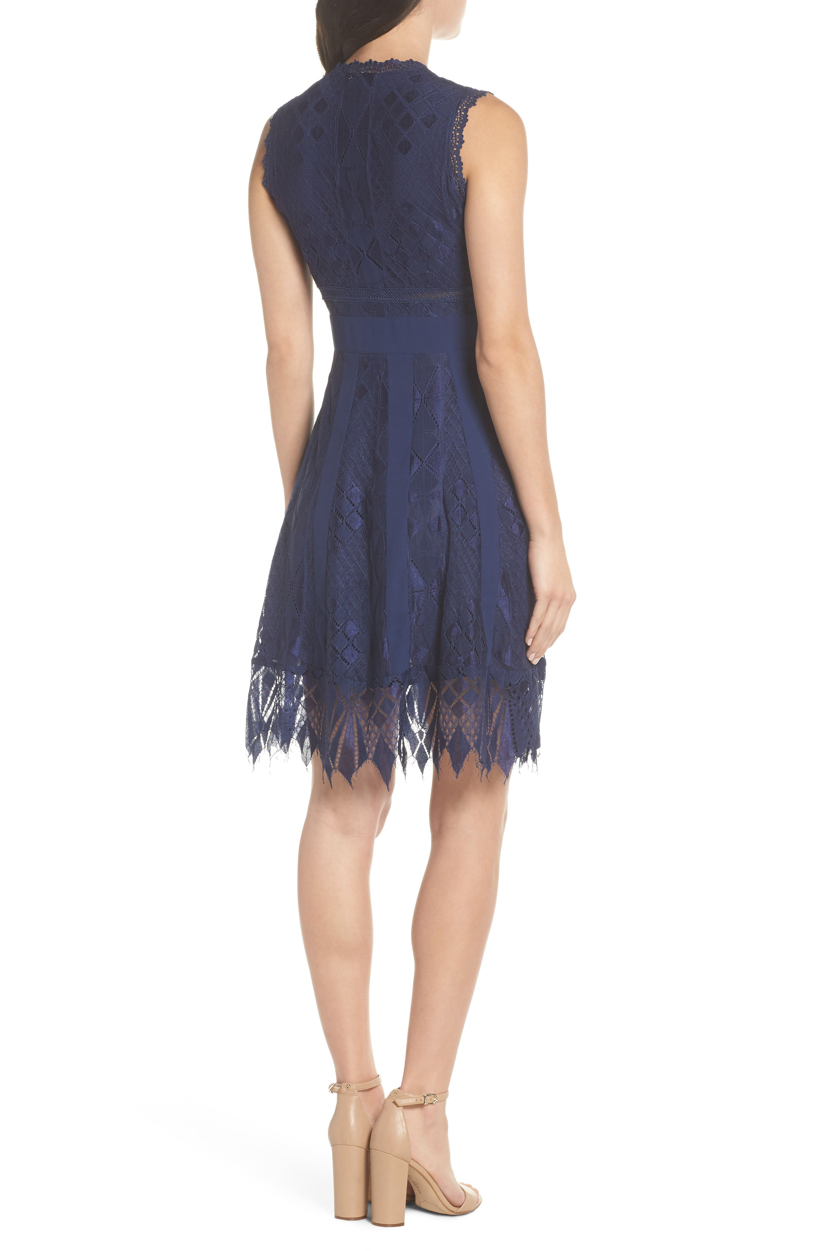 Juliet Sleeveless Lace Dress,                             Alternate thumbnail 2, color,                             NAVY