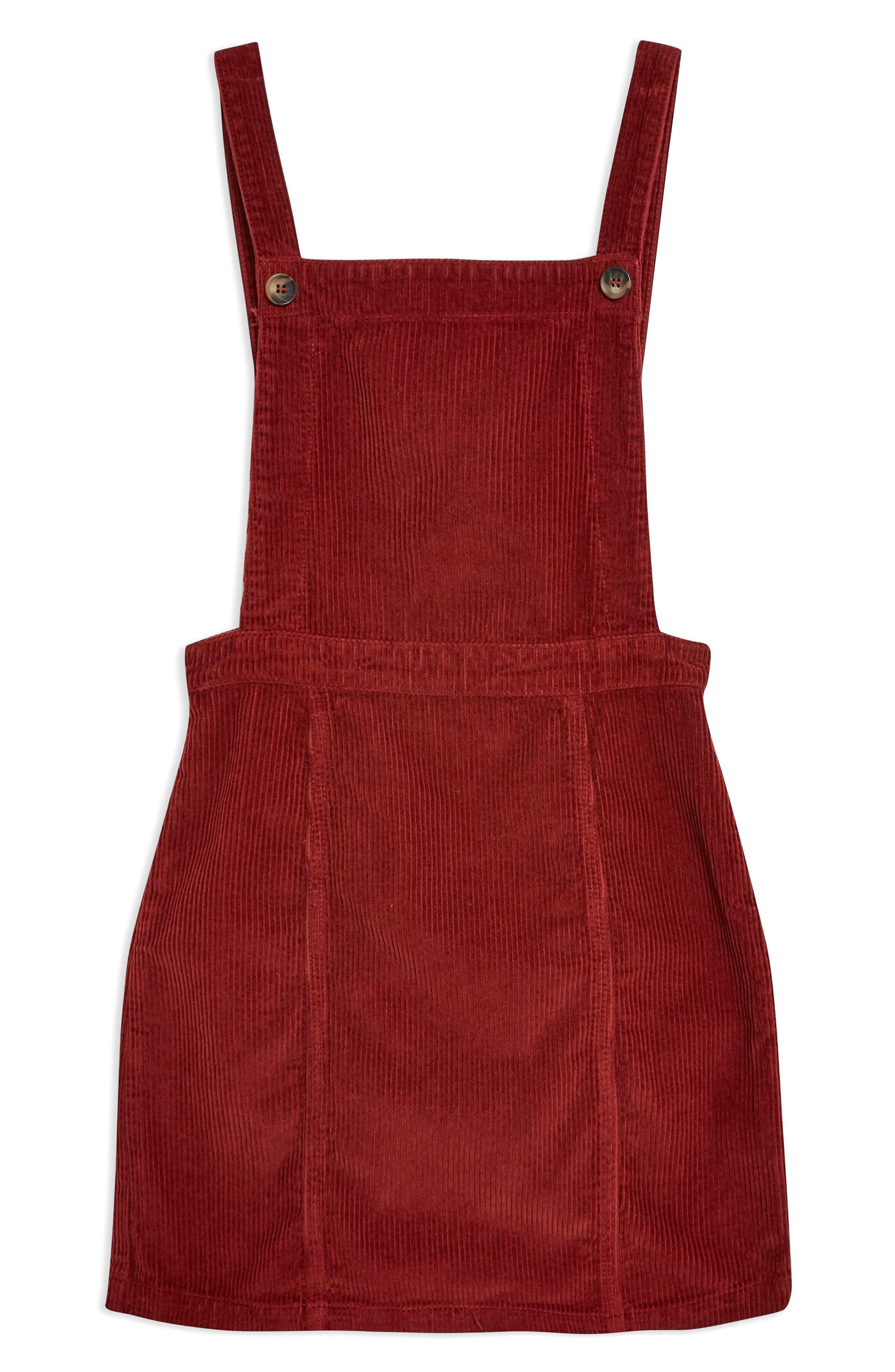 TOPSHOP,                             Horn Button Corduroy Pinafore Dress,                             Alternate thumbnail 4, color,                             RUST