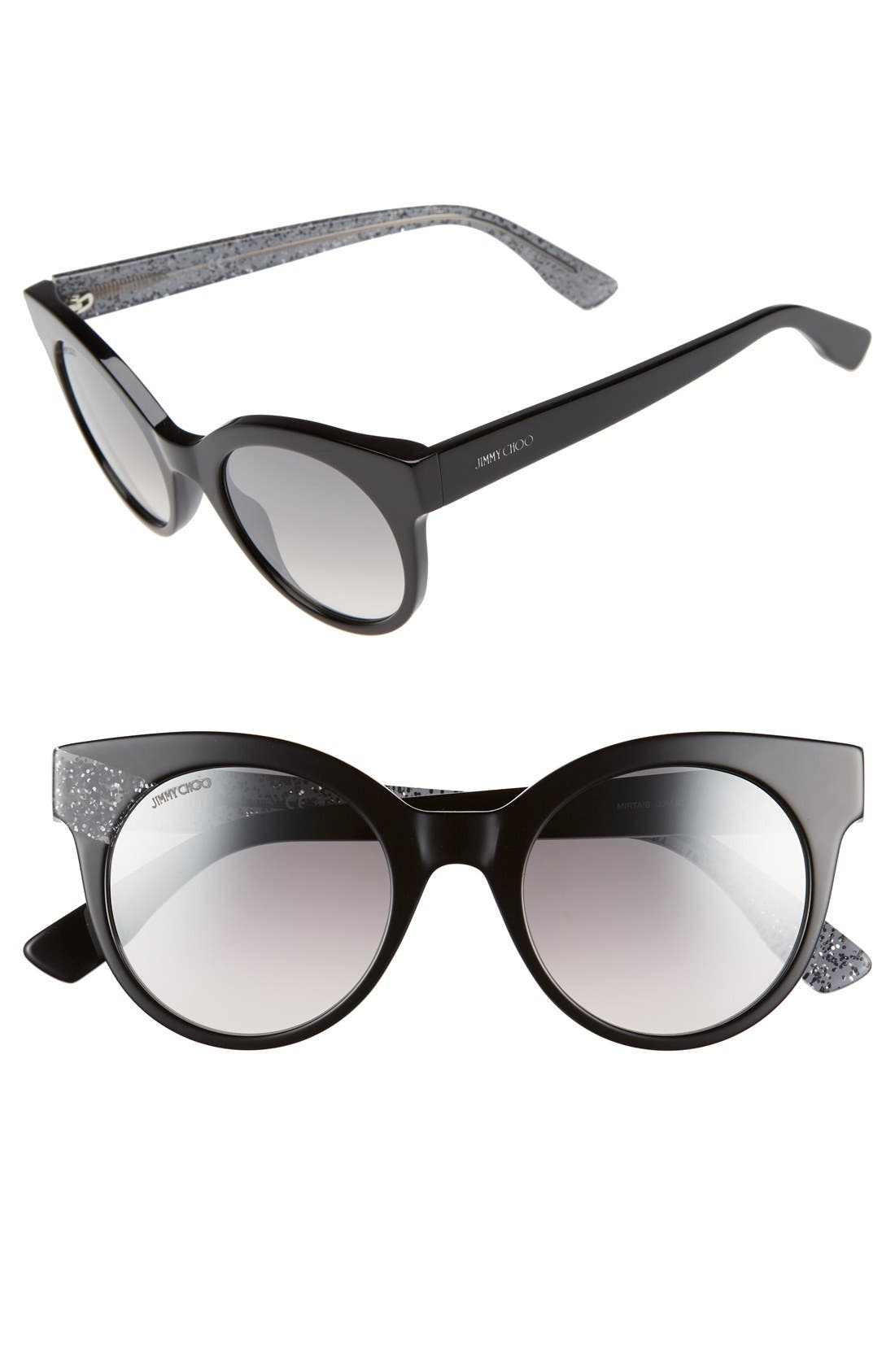 'Mirta' 49mm Glitter Detail Cat Eye Sunglasses,                             Main thumbnail 1, color,                             001