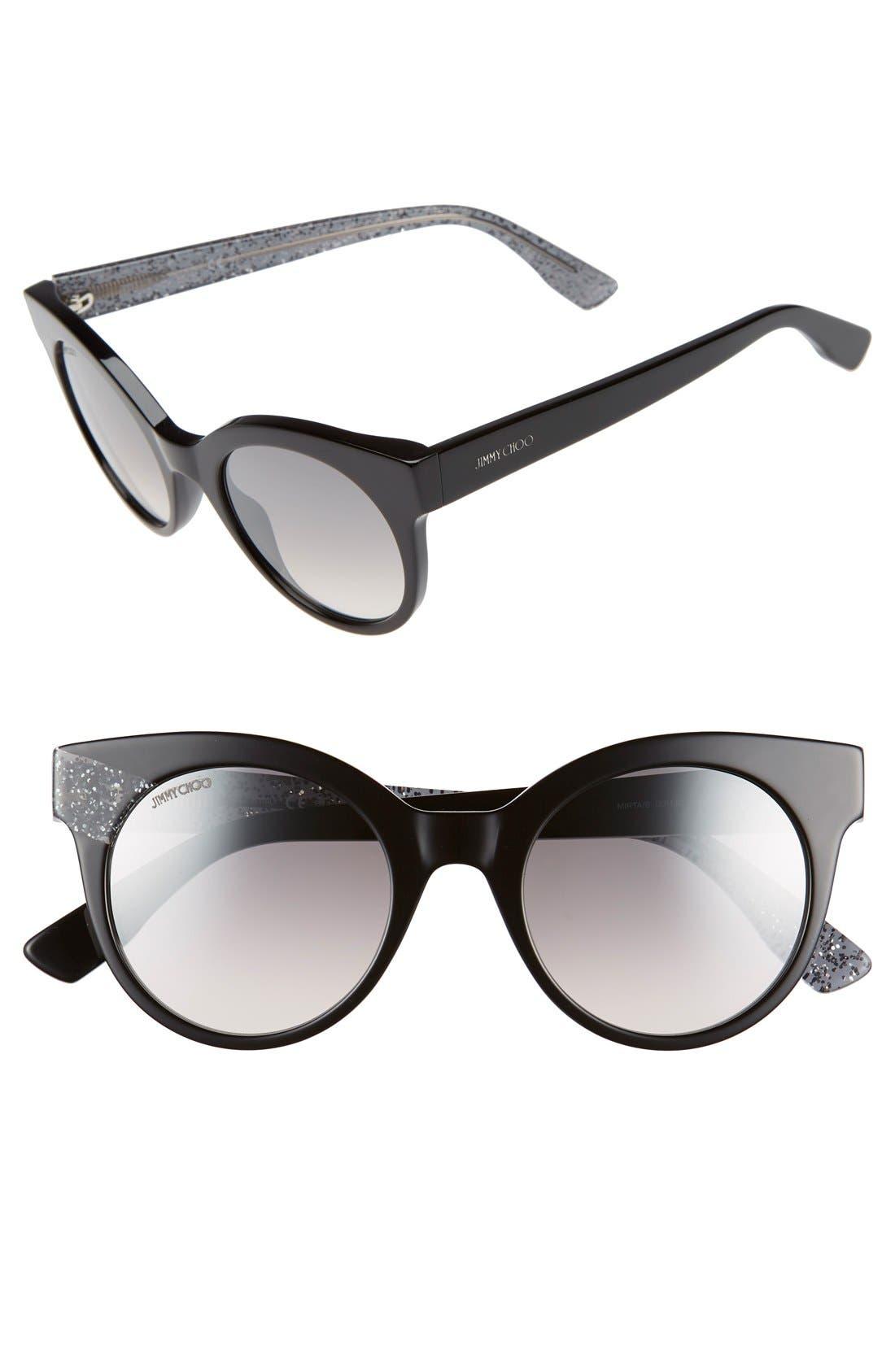 'Mirta' 49mm Glitter Detail Cat Eye Sunglasses,                         Main,                         color, 001