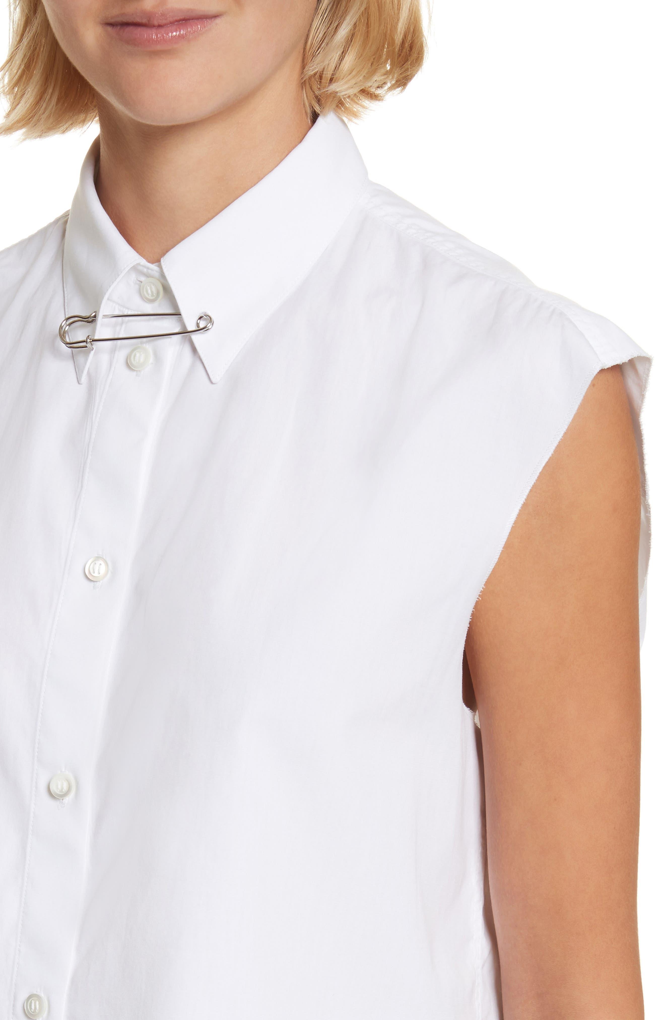 Safety Pin Cotton Poplin Crop Top,                             Alternate thumbnail 4, color,                             139
